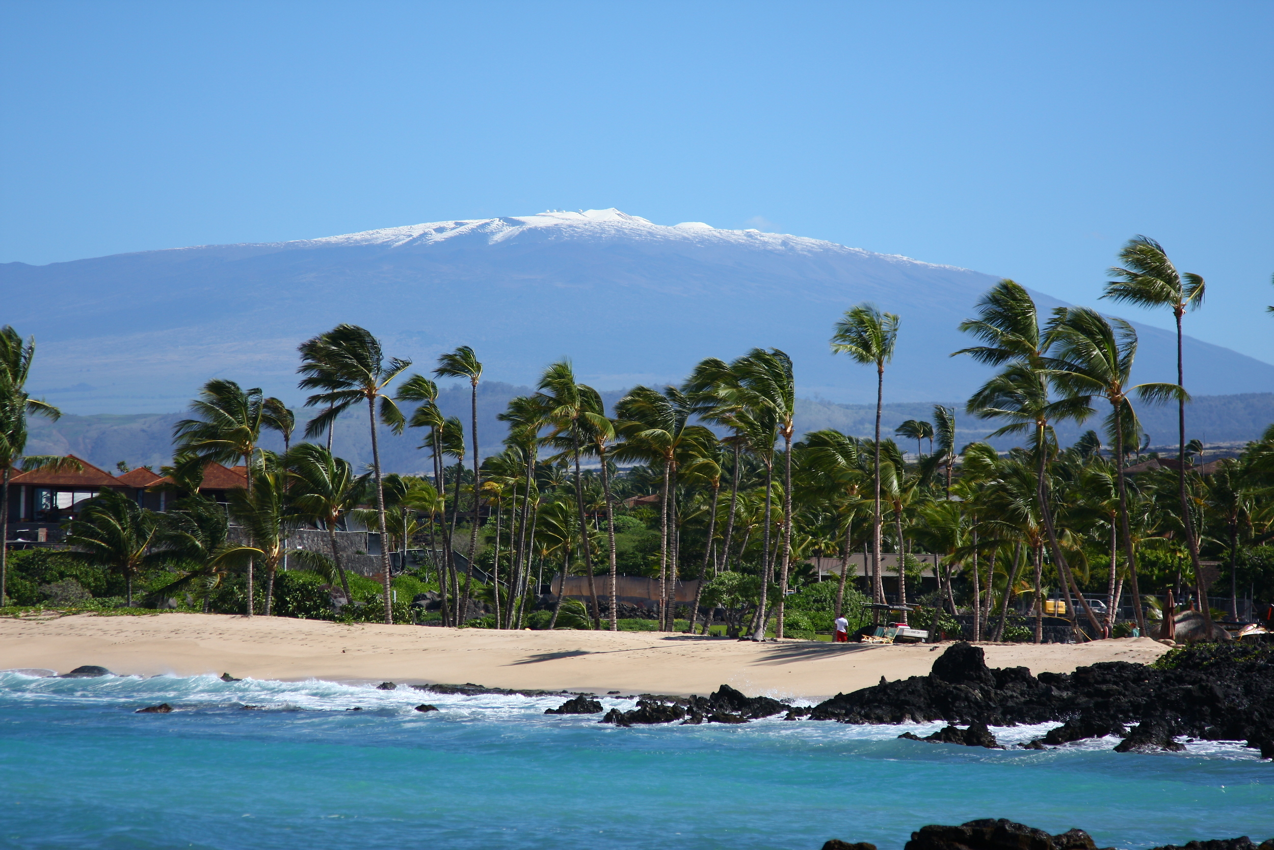 Snow on Mauna Kea from Kuhio Beach, Big Island