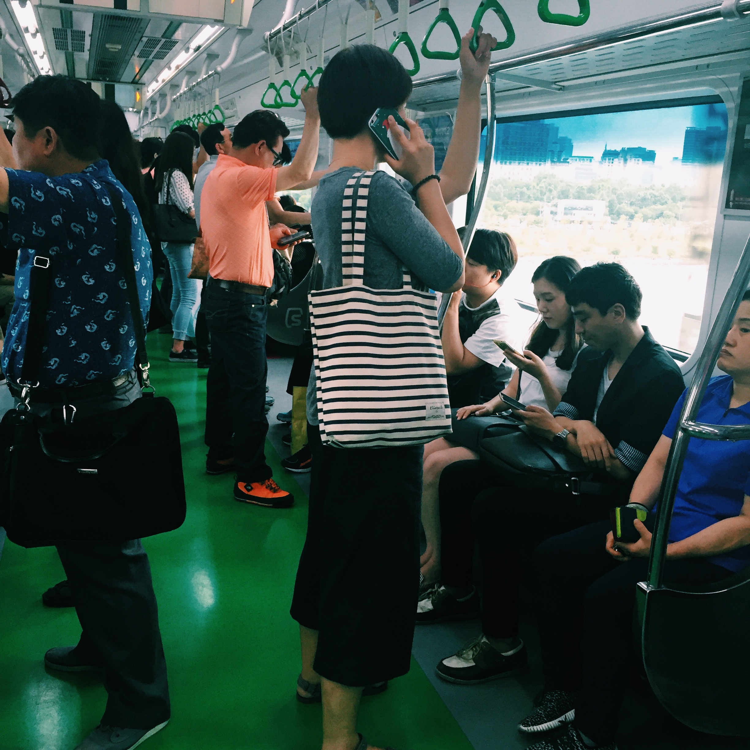 The green (and very clean) Seoul subway system.