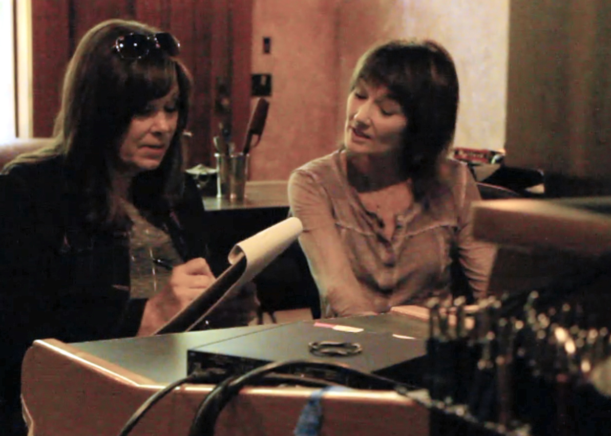 "Suzy Bogguss in The Holler with Lari recording vocals for ""Wishes."""