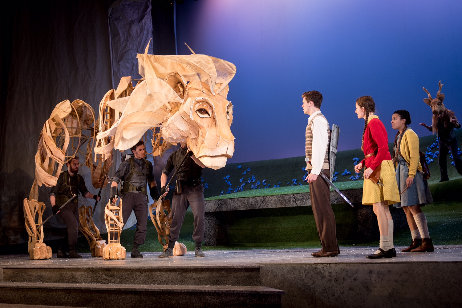 The Lion the Witch and the Wardrobe, Birmingham REP Theatre 2015 (Puppet Designs by Jo Lakin with Mervyn Millar for Significant Object.Set and costume designer Jamie Vartan, dir. Tessa Walker).