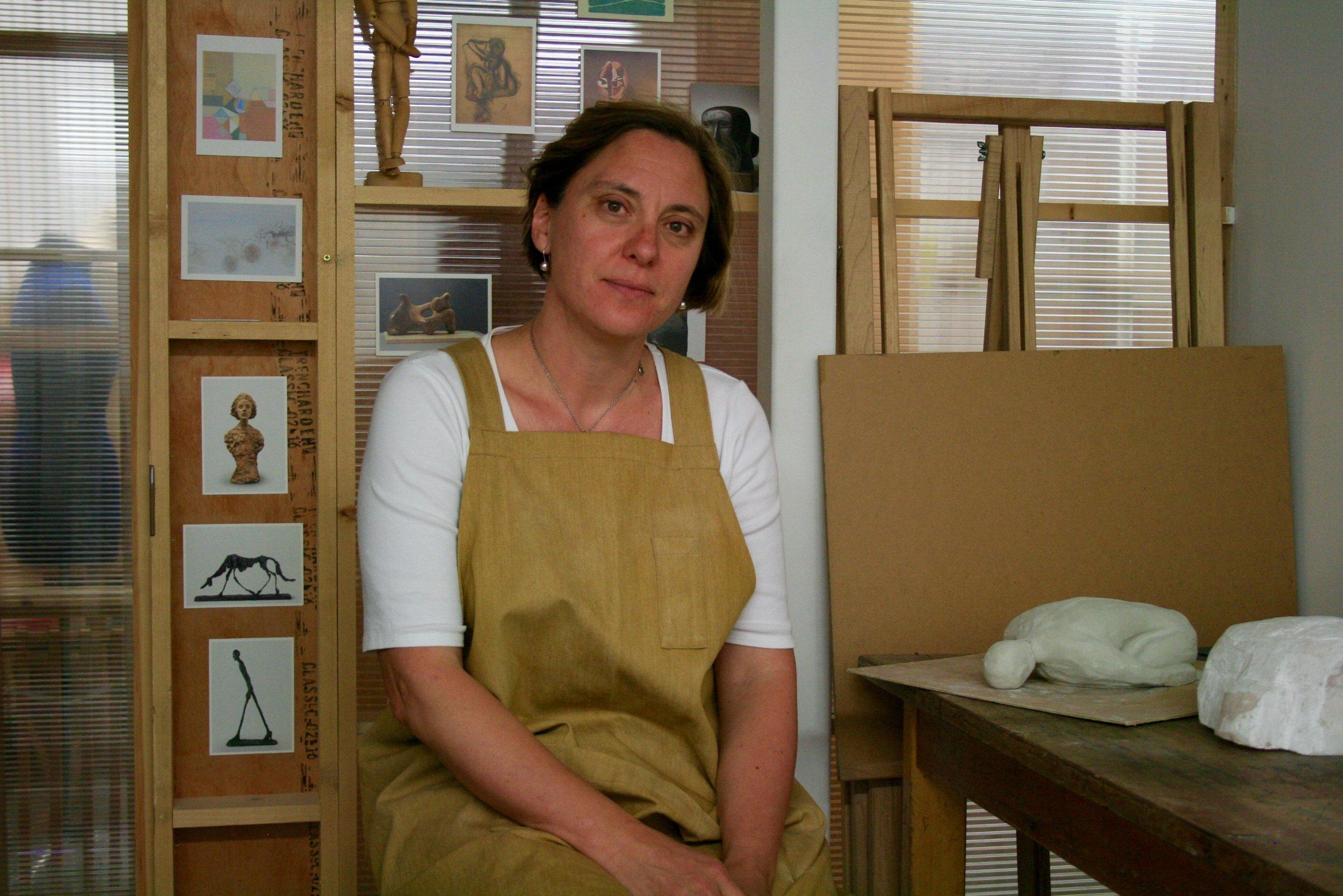Judith Pollock in her studio on Spare Street