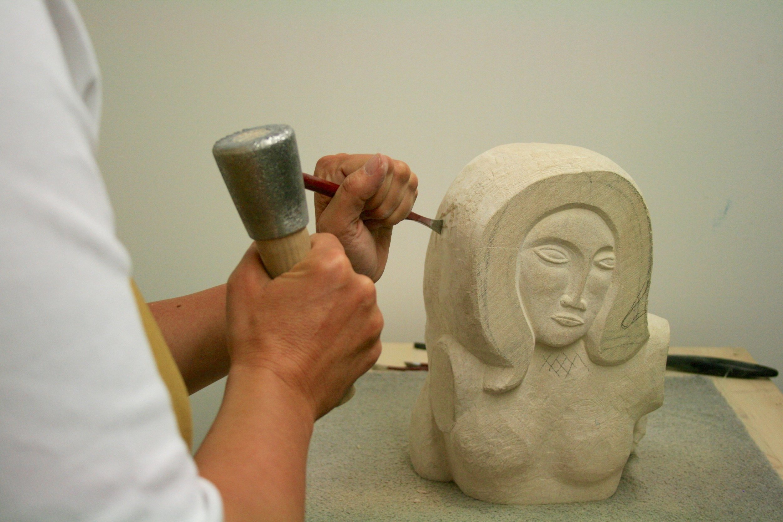 Judith Pollock working on 'Ancaster Woman'