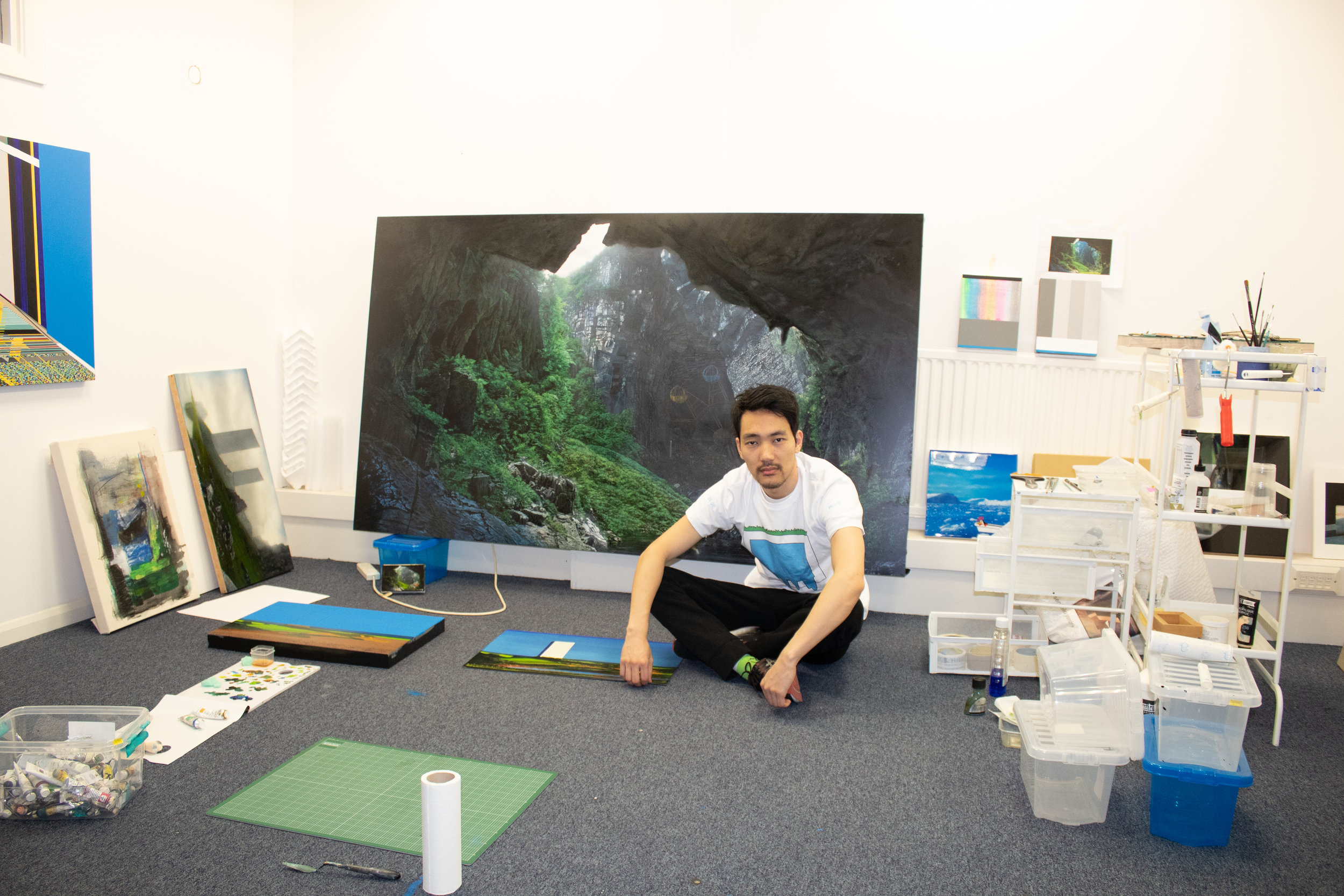 Naoya Inose in his studio at Hotel Elephant