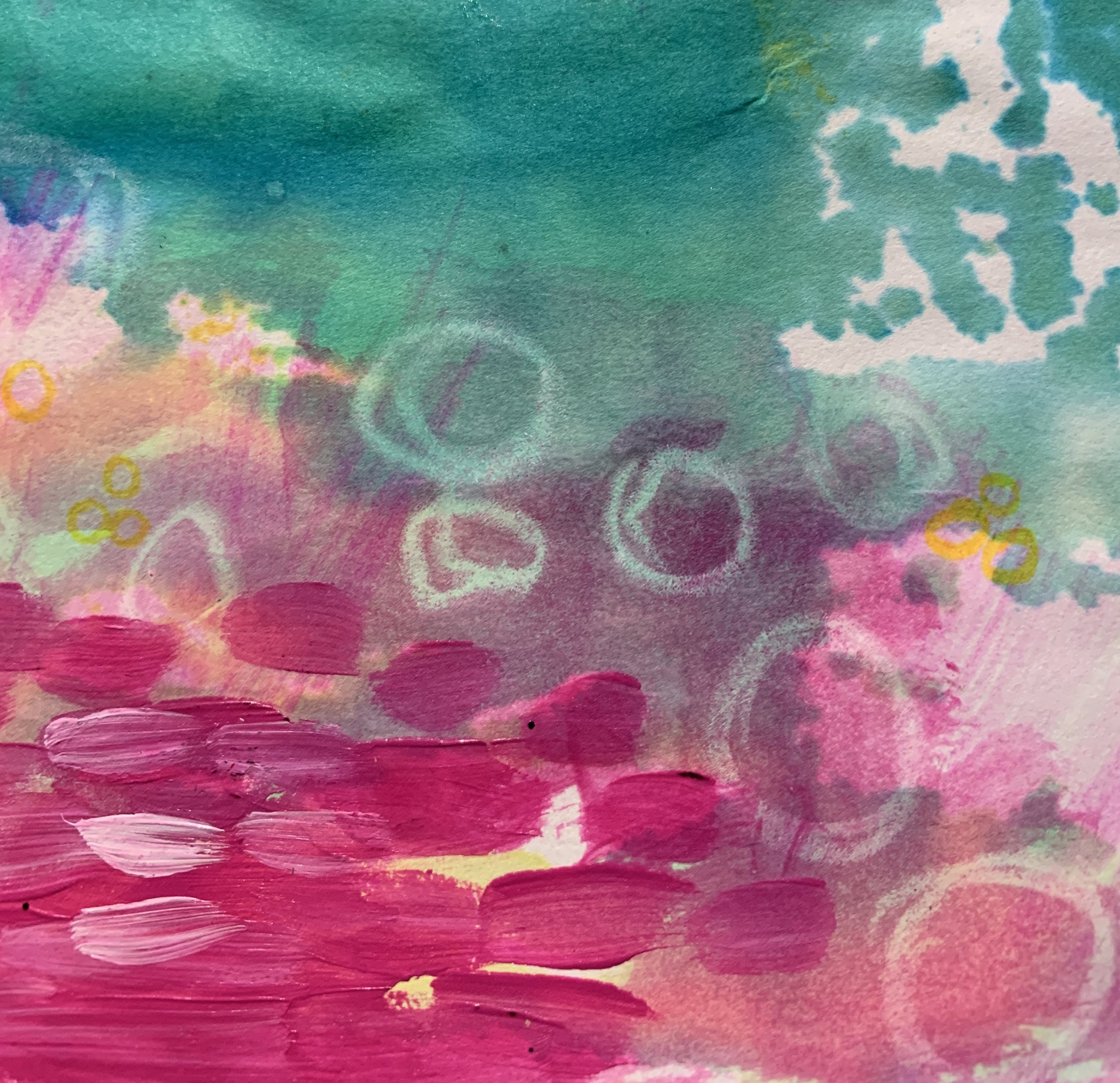 Close up photo of magenta brush strokes in acrylic paint over wax crayon and watercolor. Image color goes from magenta to emerald green.