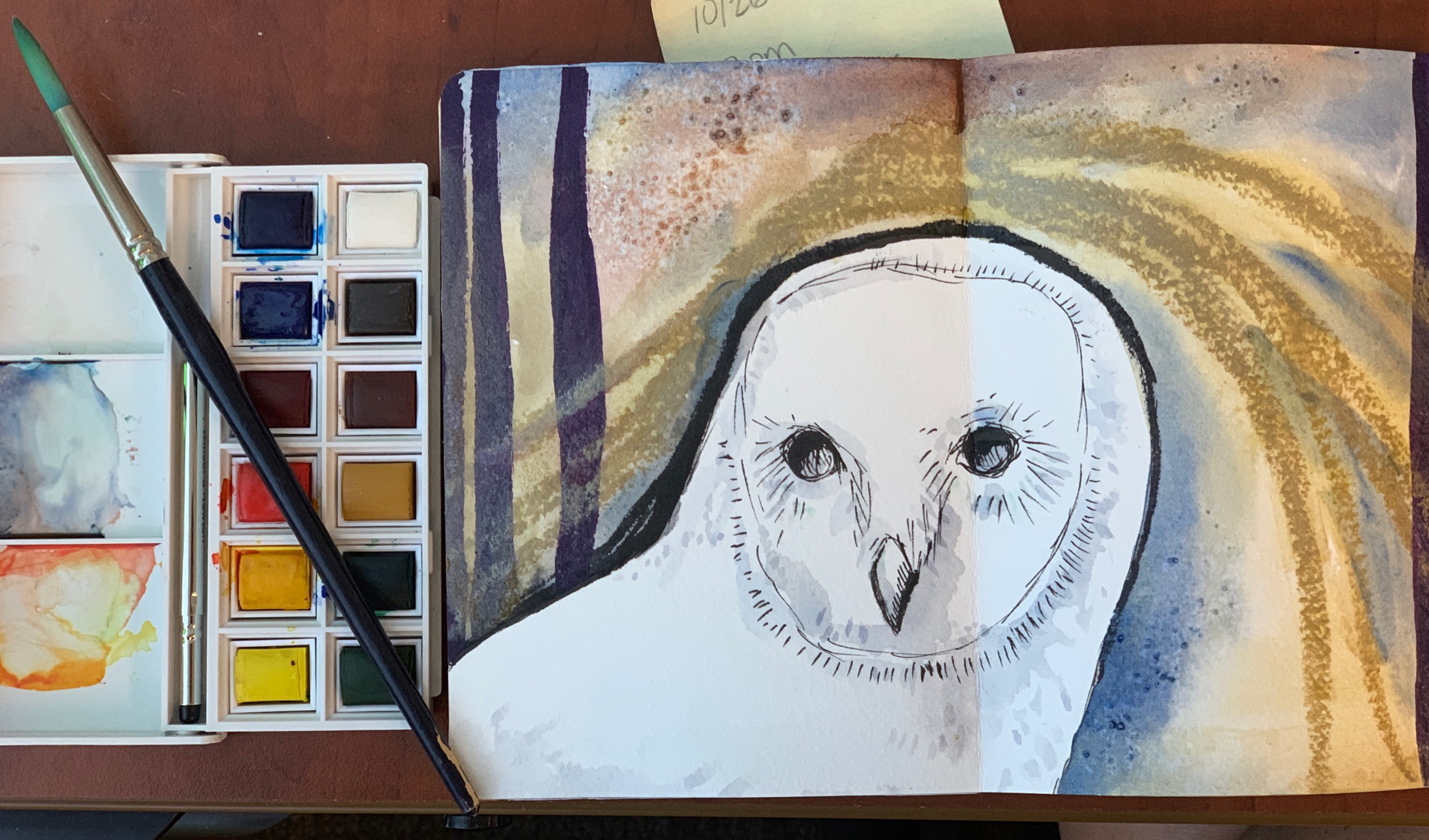 An evolving barn owl in my art journal