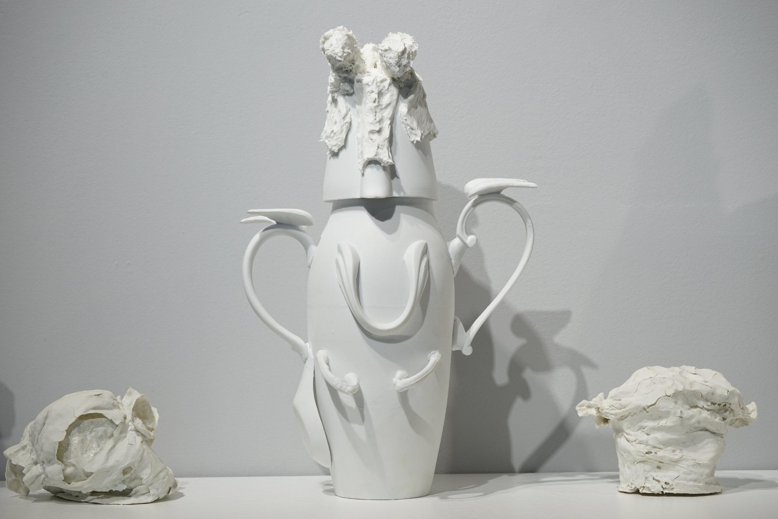 Corks and diapers  (detail) ,  2016, porcelain, variable dimension / Vase ♯2, 40cm x 25cm Φ