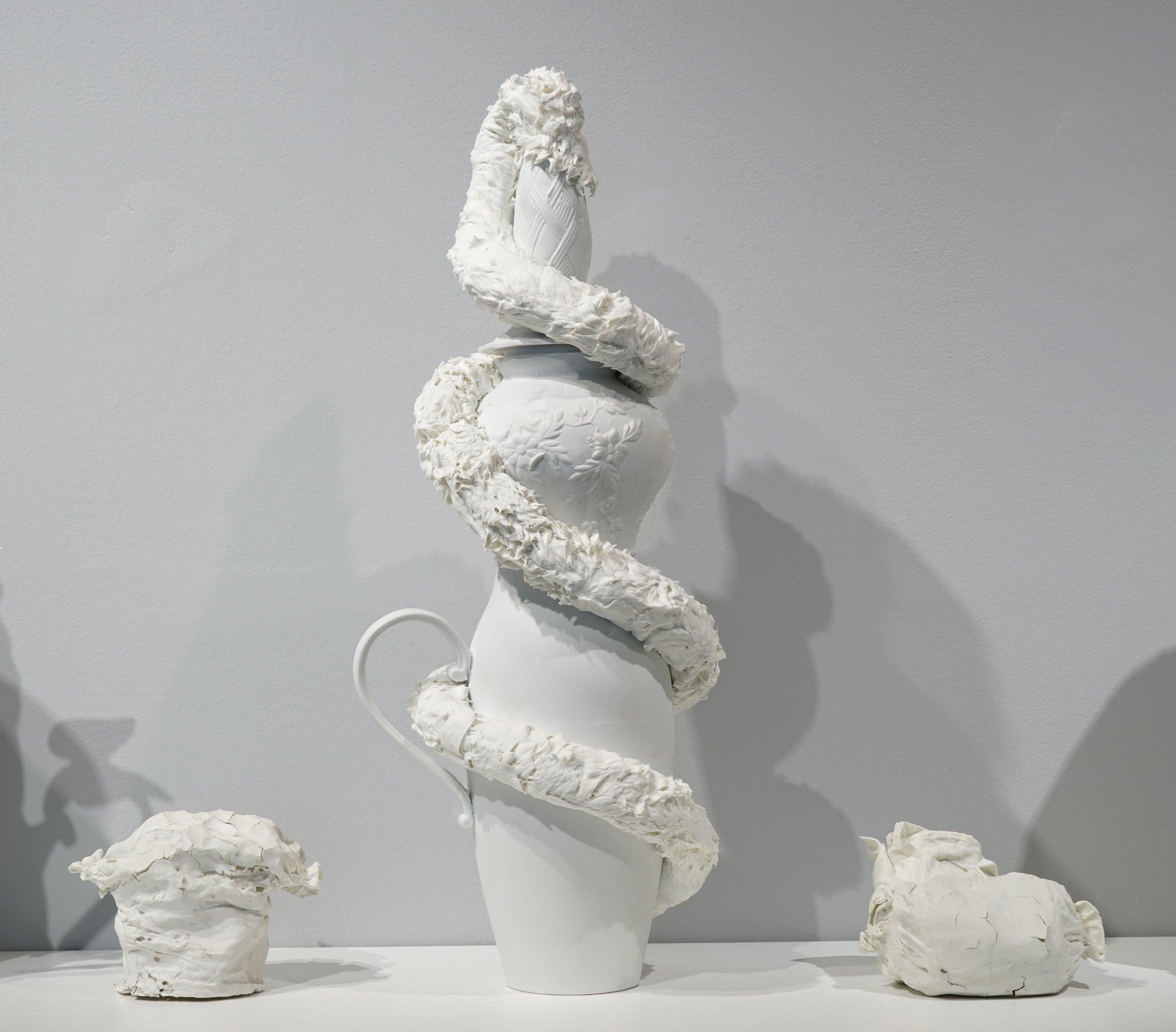 Corks and diapers  (detail) ,  2016, porcelain, variable dimension / Vase ♯3, 56cm x 22cm Φ