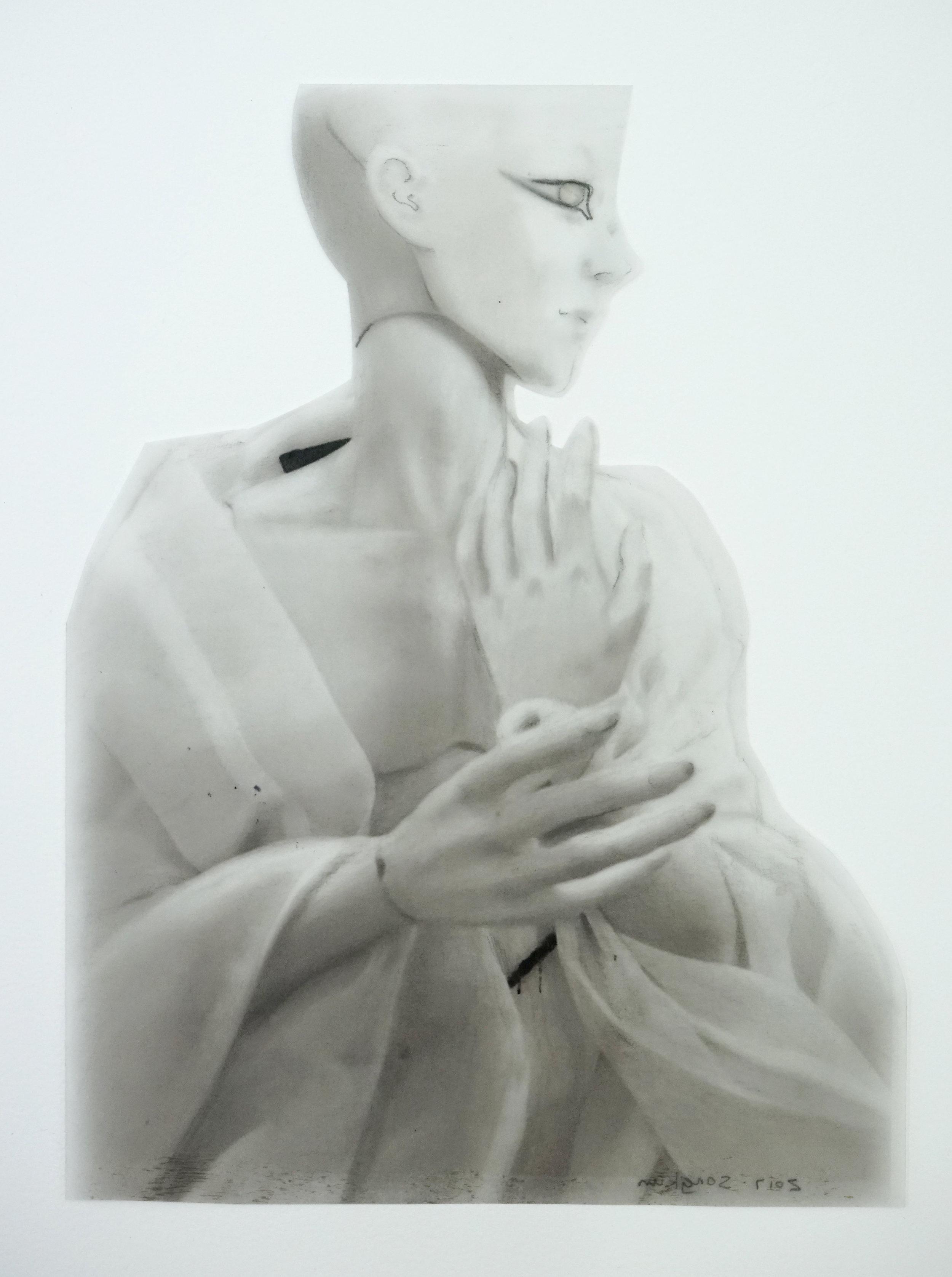 Doll , 2017 , Graphite on parchment paper,double Plexiglas holders, 29.7 x 21 cm