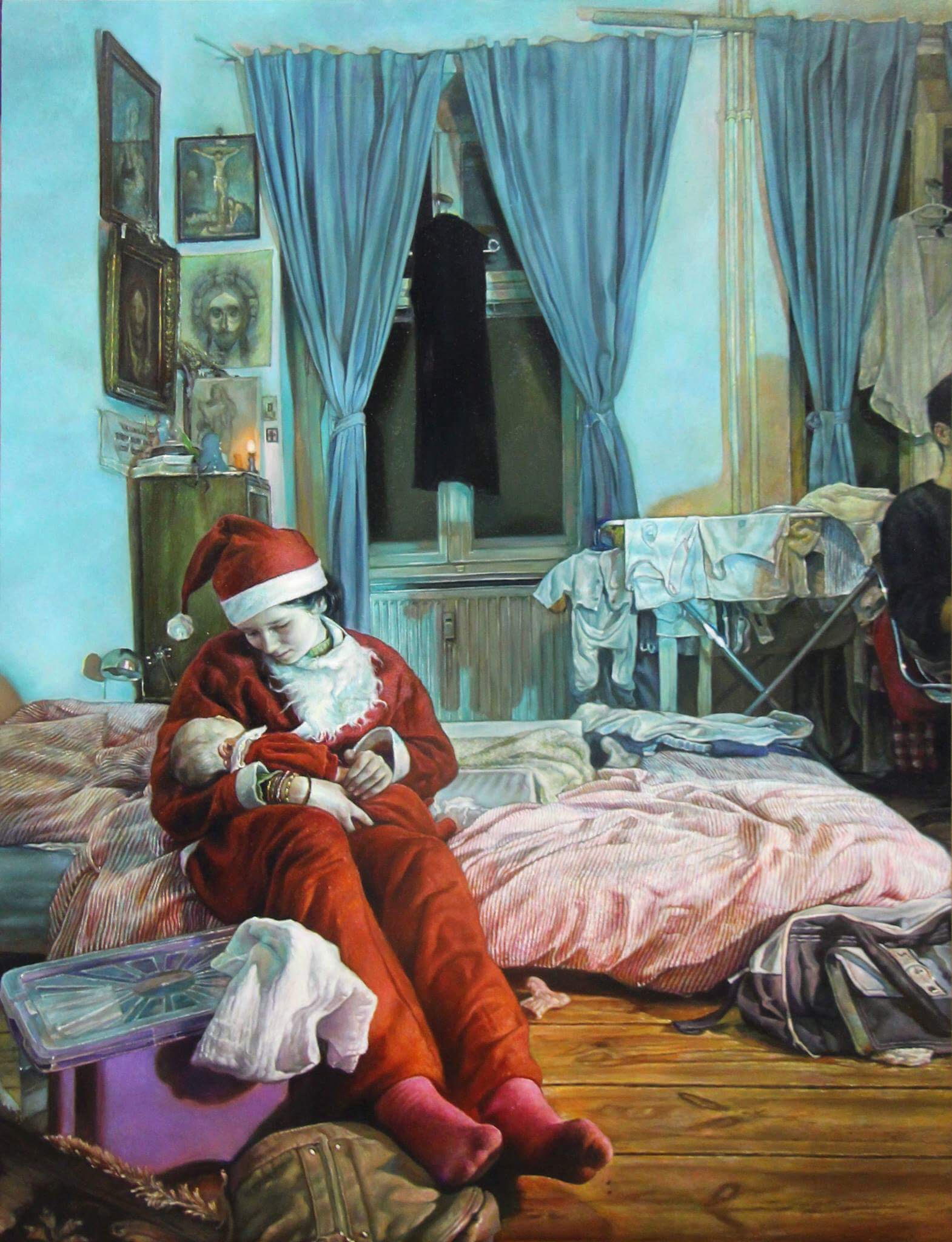 Le réel dévoilé , May.-Sept.2017, Oil on wood, 80 x 60 cm  Axel Pahlavi has taken a photo of a scene which has particularly touched him. At his home a friend's daughter dressed up as Santa Claus takes her newborn in her arms and sits on his bedside. Four years later he began painting a copy of this picture. And then, by a slow and detailed work which takes its inspiration in Dutch painting, a hidden and symbolic meaning of the scene is revealed to him. Layer after layer he can discover it and bring us to see it. At the same time his copying work is gaining a new and intense significance. This painting sums up particularly the artist's personal approach full of fervour and humility.