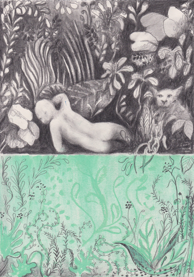 Dreamer ( Hommage to Rousseau ) , 2017, Graphite and oil pastel on paper, 29.7 x 21 cm