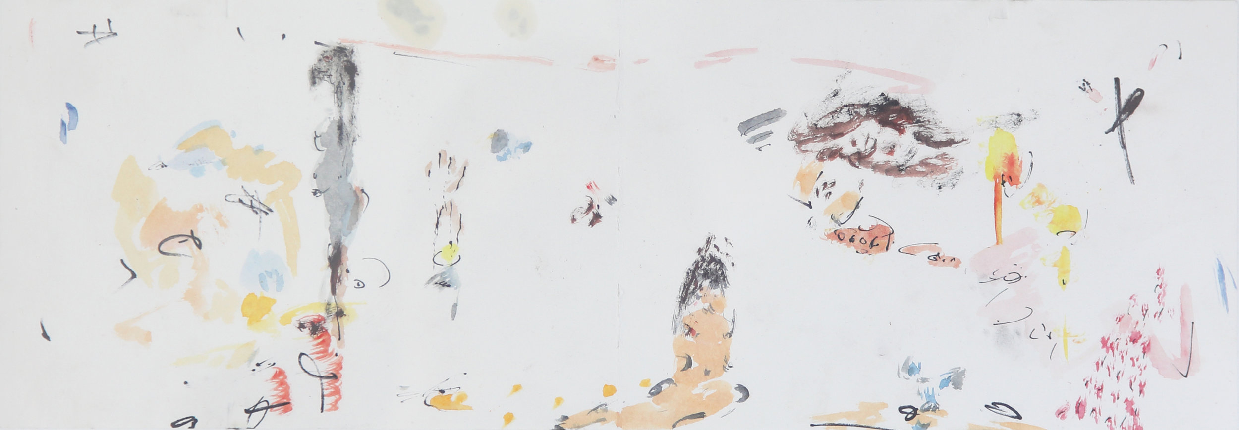 No title , 2016, Watercolor on paper, 13.5 x 39 cm