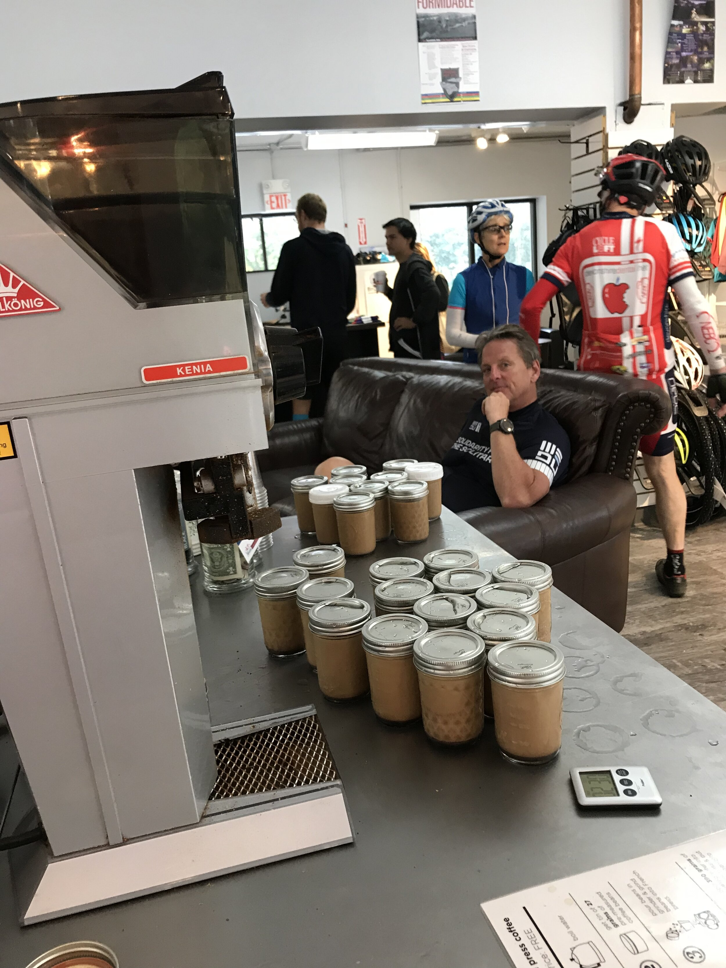 Iced mochas fresh from Ride Studio Cafe were available at Ride Headquarters and at every stop on each route.