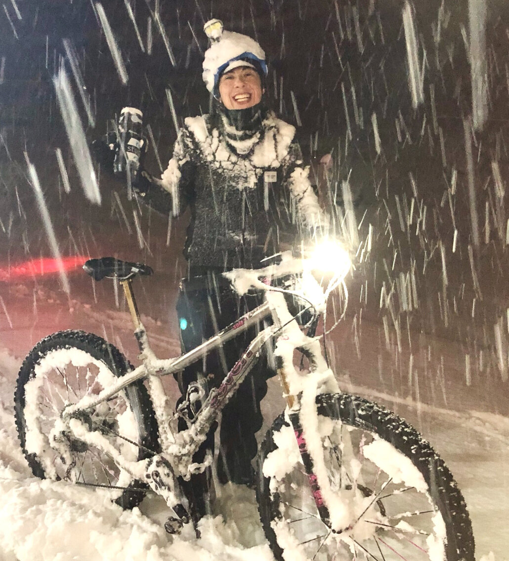 Not exactly the image that pops to mind when you think about a hard-core, tough winter cyclist, but this rider who has a  very  low threshold for getting cold (she feels the cold on a 60-degree day) is one of the most avid winter riders in New England.