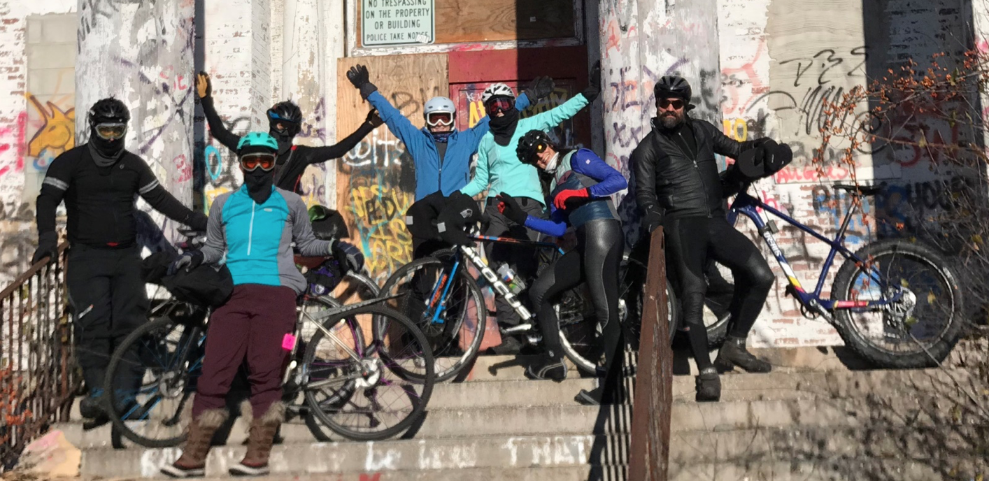 These cyclists went out Thanksgiving morning with temps in the 6 degree range. They were all back in time to help prepare feasts at their respective households.