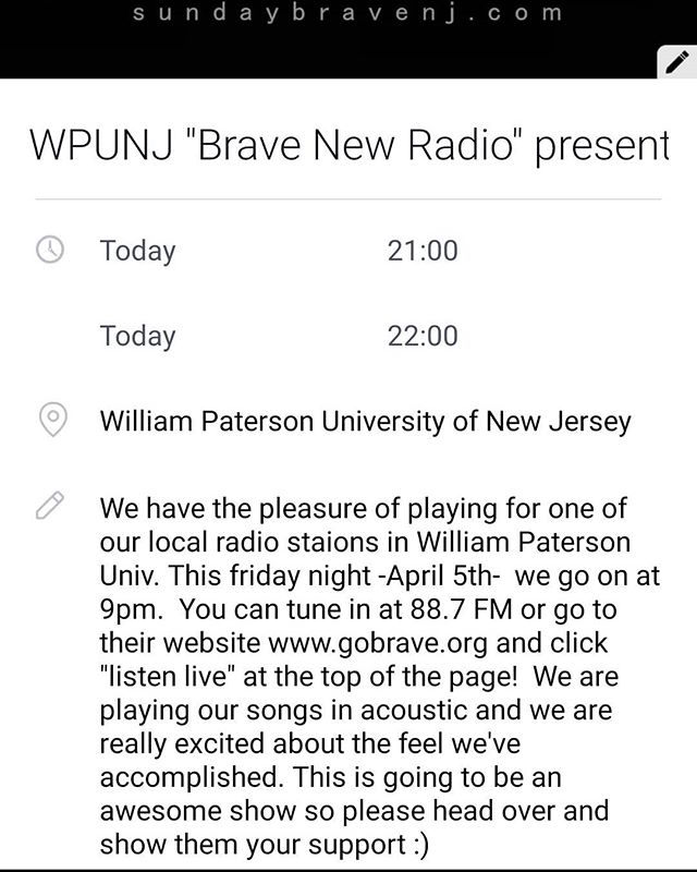 Acoustic sesh tonight live at @wpunj where we heat things up.