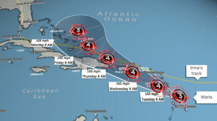 Less than two weeks apart: Cat 5 Hurricane Irma's path in yellow, Hurricane Maria's path in red. Image via CNN before Maria was upgraded to a CAT 5 Hurricane.