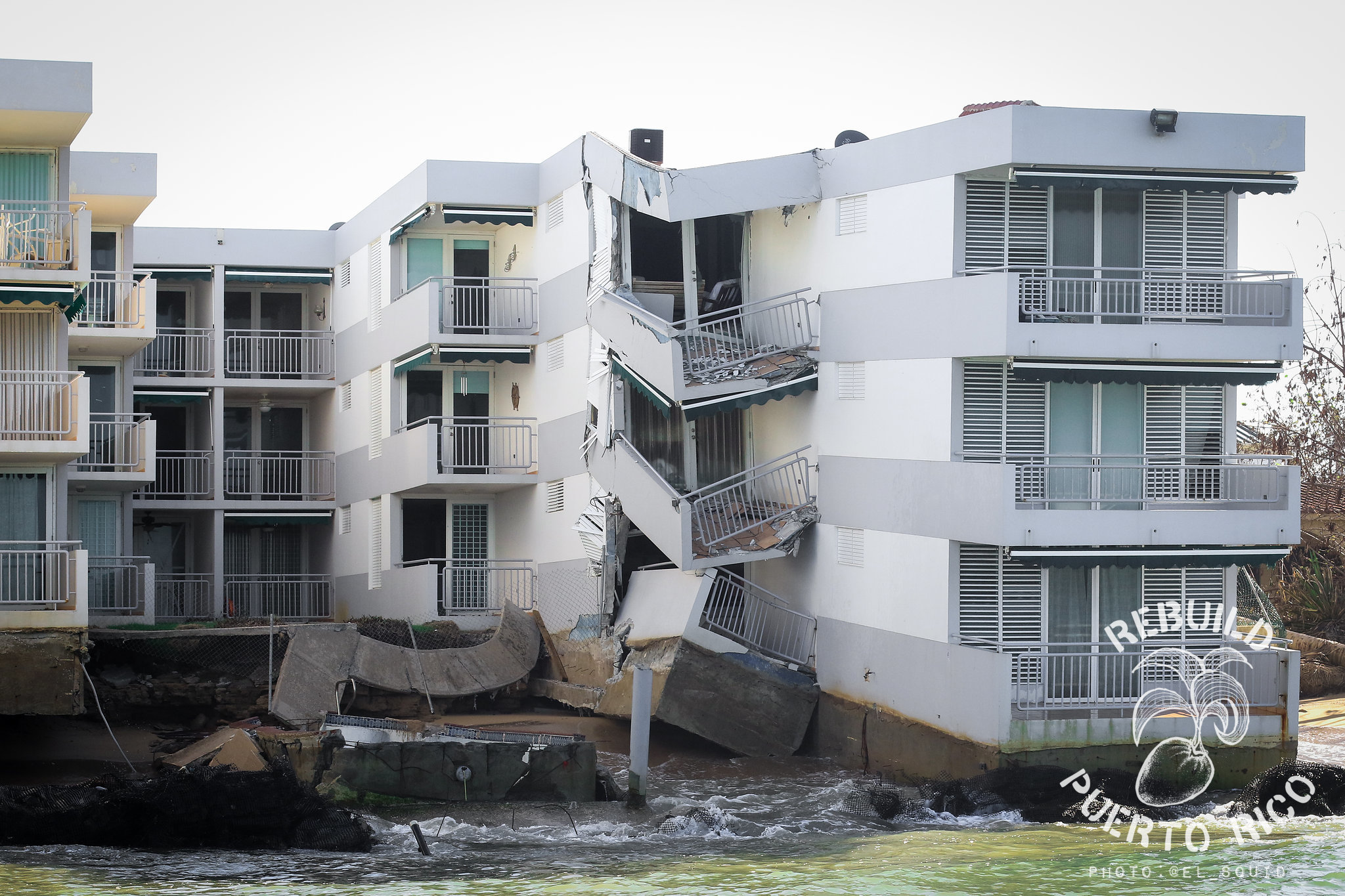 Concrete buildings collapsed as if an earthquake had shook the island. // Photo by Anthony Dooley
