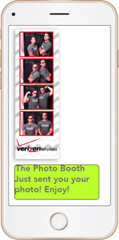 Photo To Phone Texting - Our booths feature photo to phone texting. Letting your guests text themselves their photos right from the photo booth after their photo session!