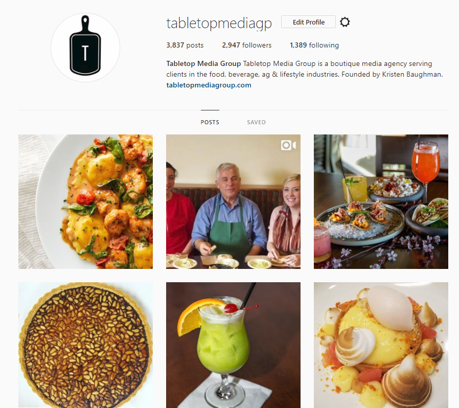 Example of a short bio for your business, as well as what a website looks like on your Instagram profile page.
