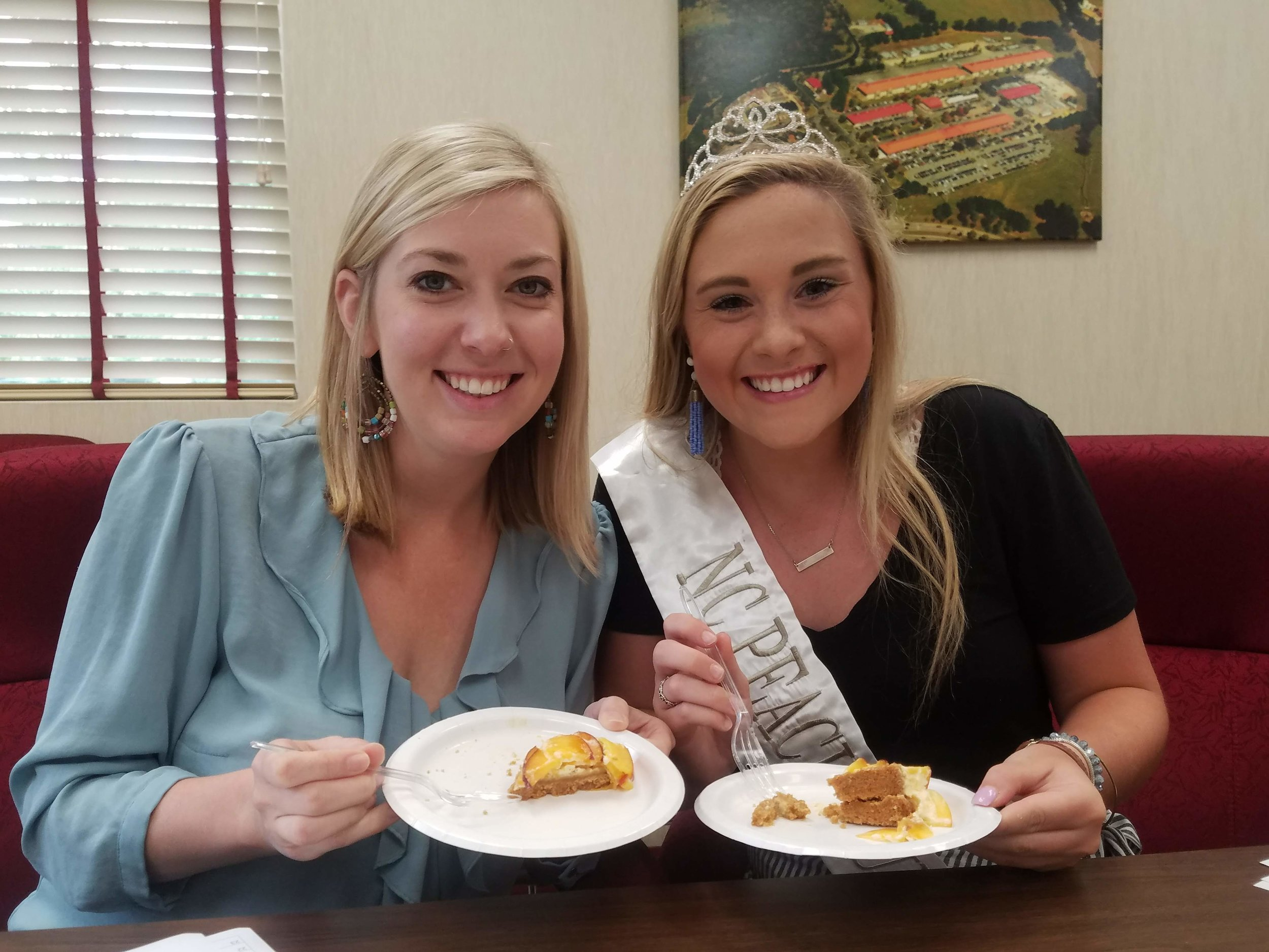 Kristen Baughman with the 2018 North Carolina Peach Queen serving on the panel of judges.