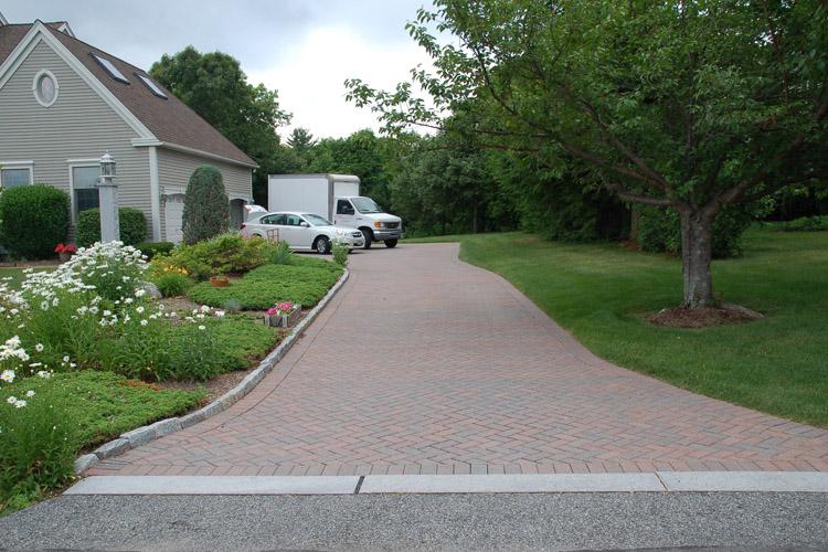 Paver Driveway with Granite Ribbon