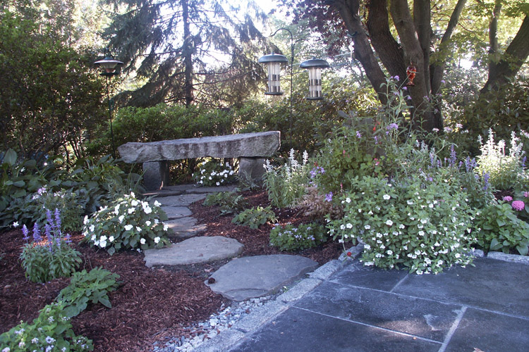 Rustic Fieldstone Stepping Stone Path and Granite Bench