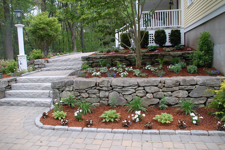 Paver Walkway with Fieldstone Wall and Granite Stairs, Westford