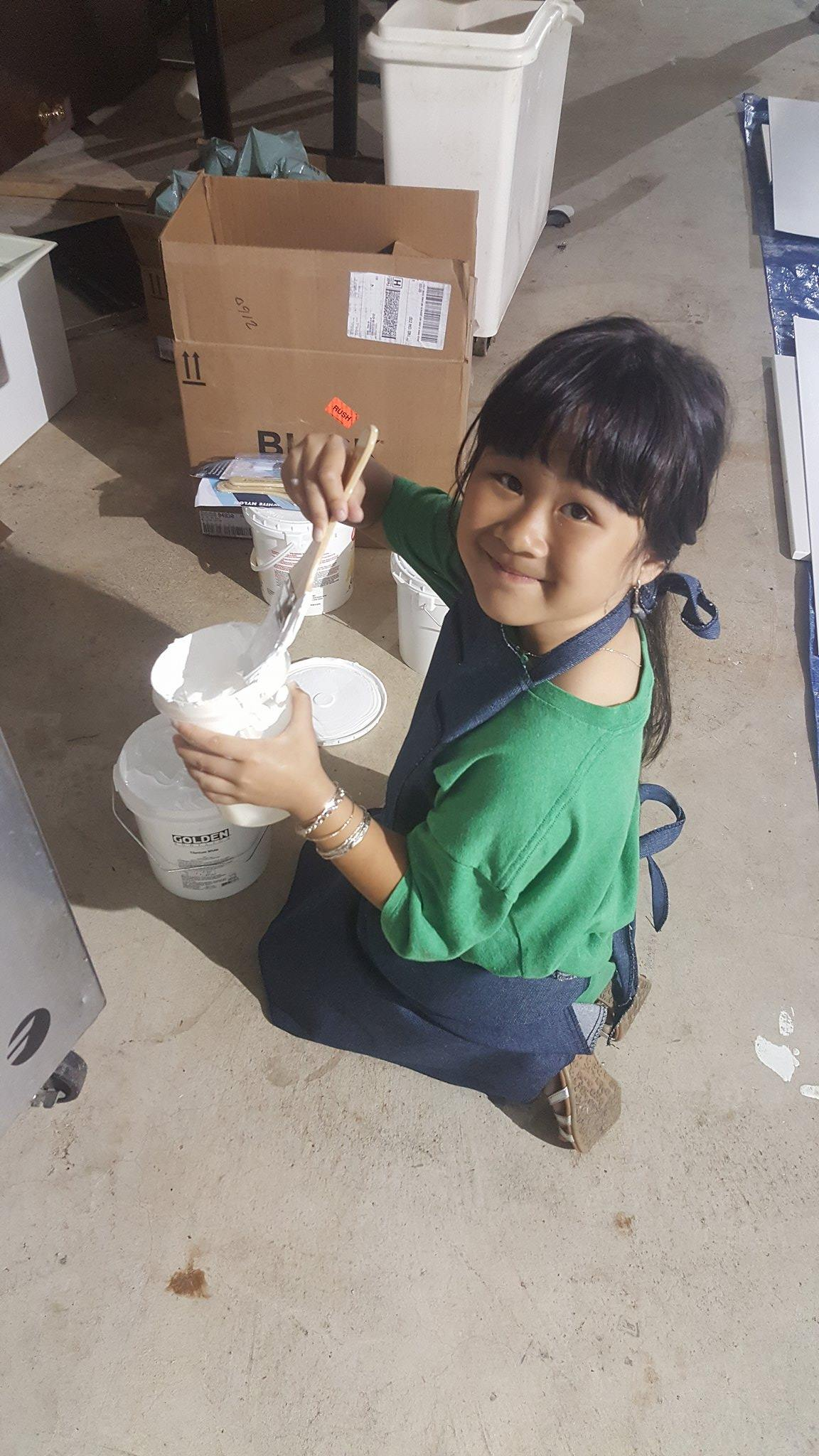 Our youngest member, Kimberly (7 yrs old), came in to help with work and volunteer to her time!             (Photo: Kathy)