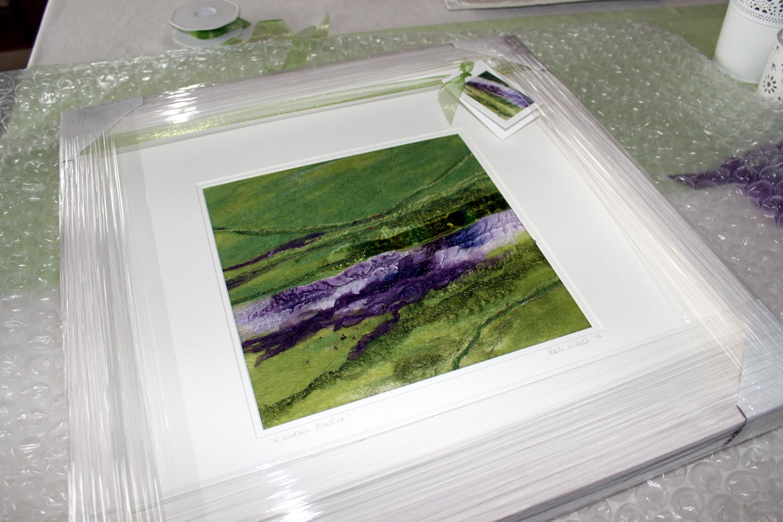 """A very special request for a scaled up """"Mountain Heather"""" for a gift. This piece is now with a lovely family in Cleveland and holds a special place in their hearts."""
