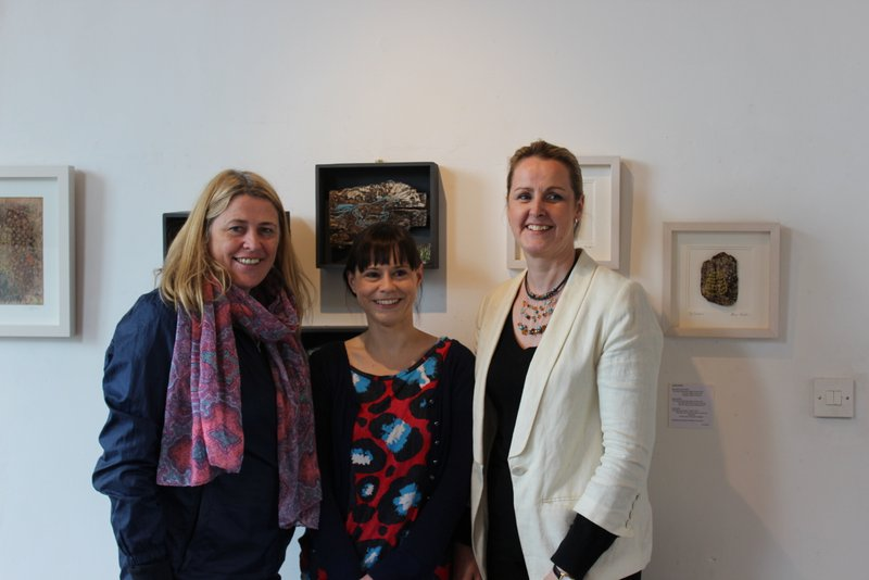 Alison Hunter from the Textile Collective, centre with Mary Whelan DCCOI and Donegal Textile Artist Bernie Murphy