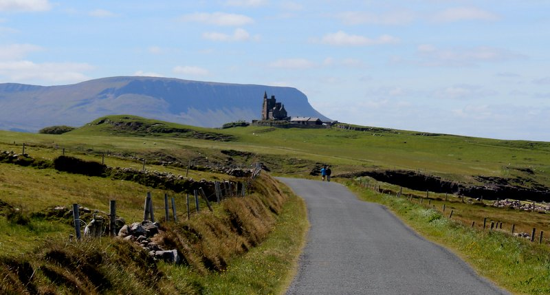 Classiebawn Castle at Mullaghmore with Benbulben in the background