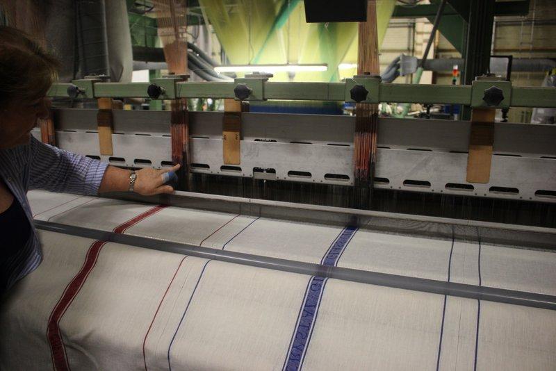 Linen tea towels being woven