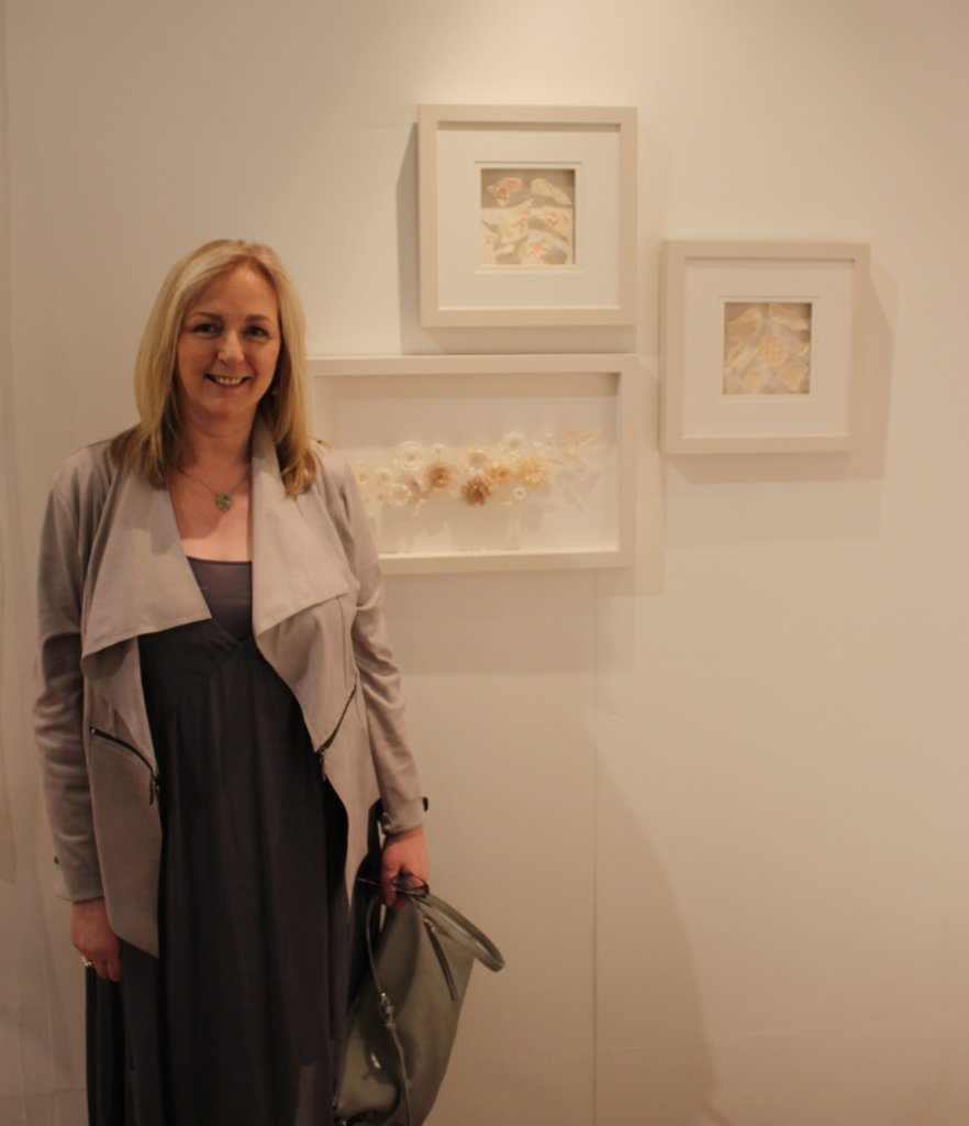 Breda McNelis Textile Artist pictured at RDS Craft Awards Exhibition with her artwork inspired by Belleek Pottery