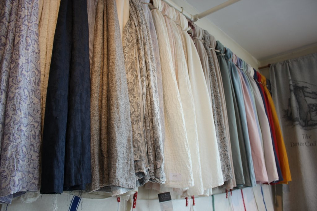Samples of fabrics in the showroom