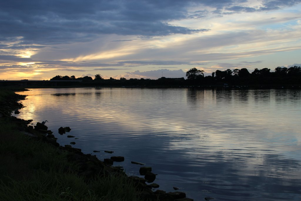 Home, after an adventurous day, just in time to catch the sunset on the Estuary...