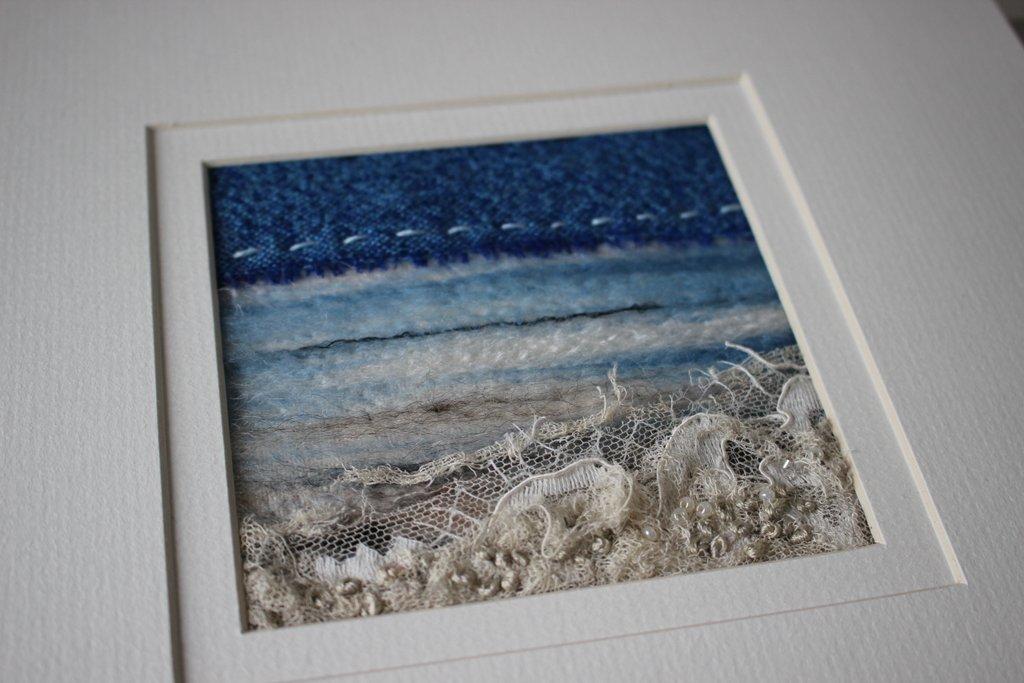 Textile Art Seascape with Vintage Fabrics