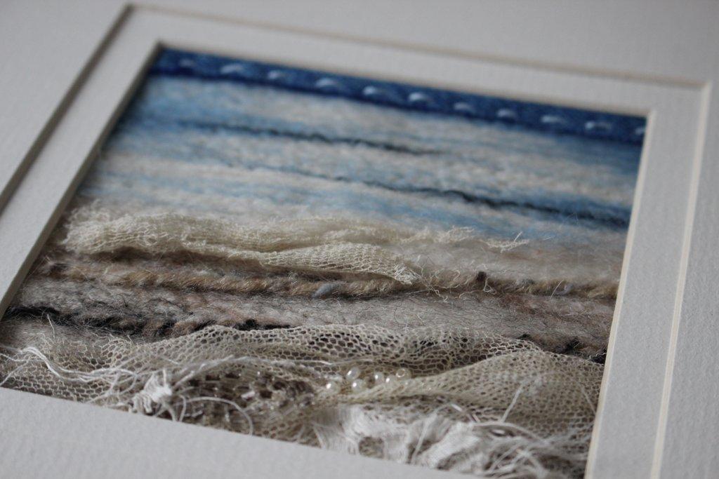 Textile Art Seascape with vintage lace
