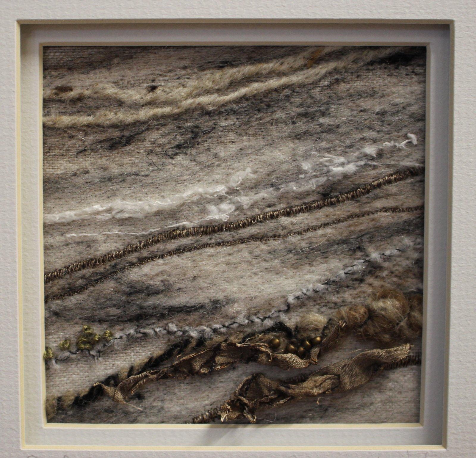 Textile Art Driftwood Shoreline on linen