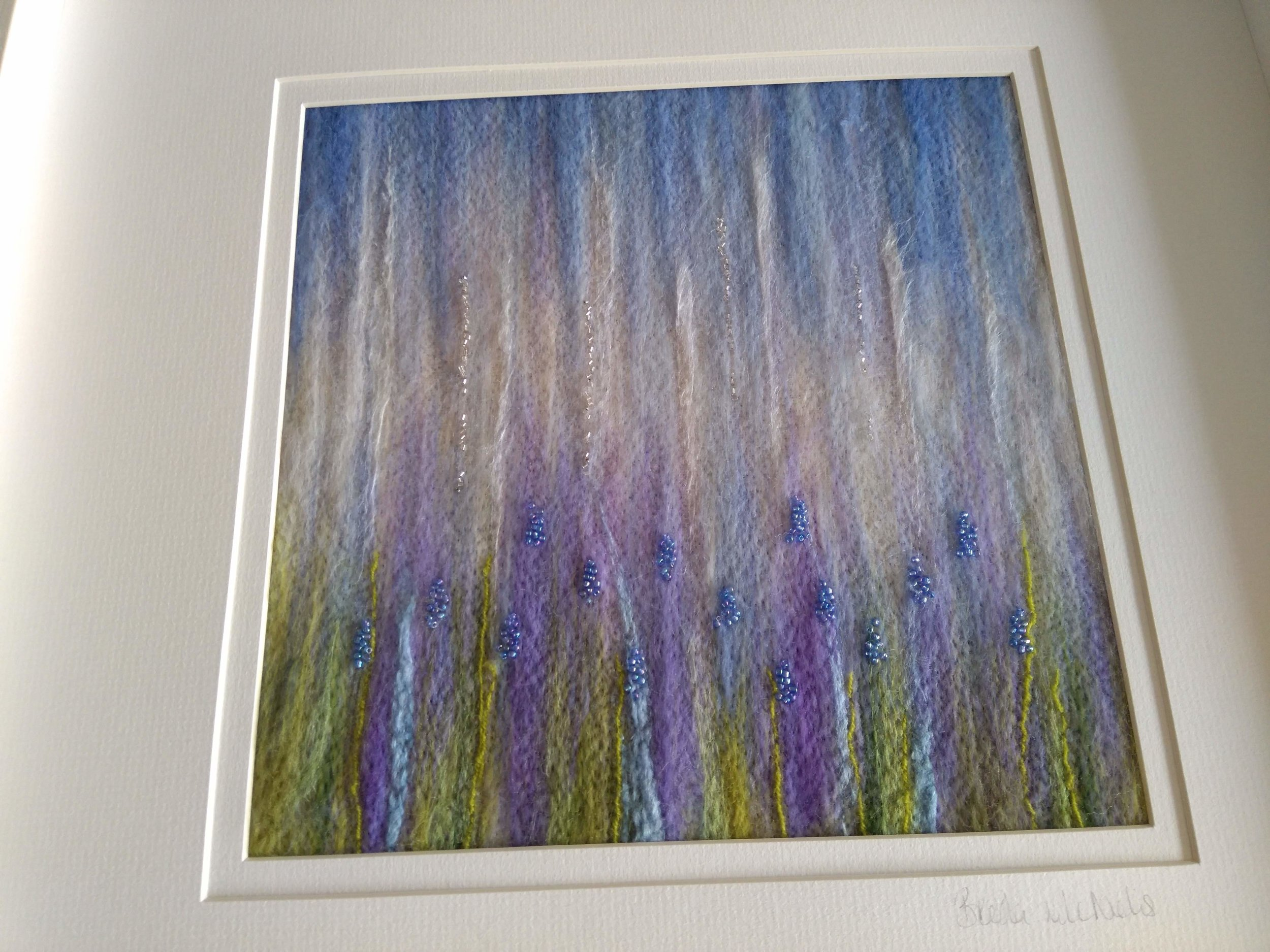 'Raindrops on Bluebells' available at The Gallery Listoke. This piece is in a frame approx 50 x 50 cm. I also have some smaller pieces available at the gallery.