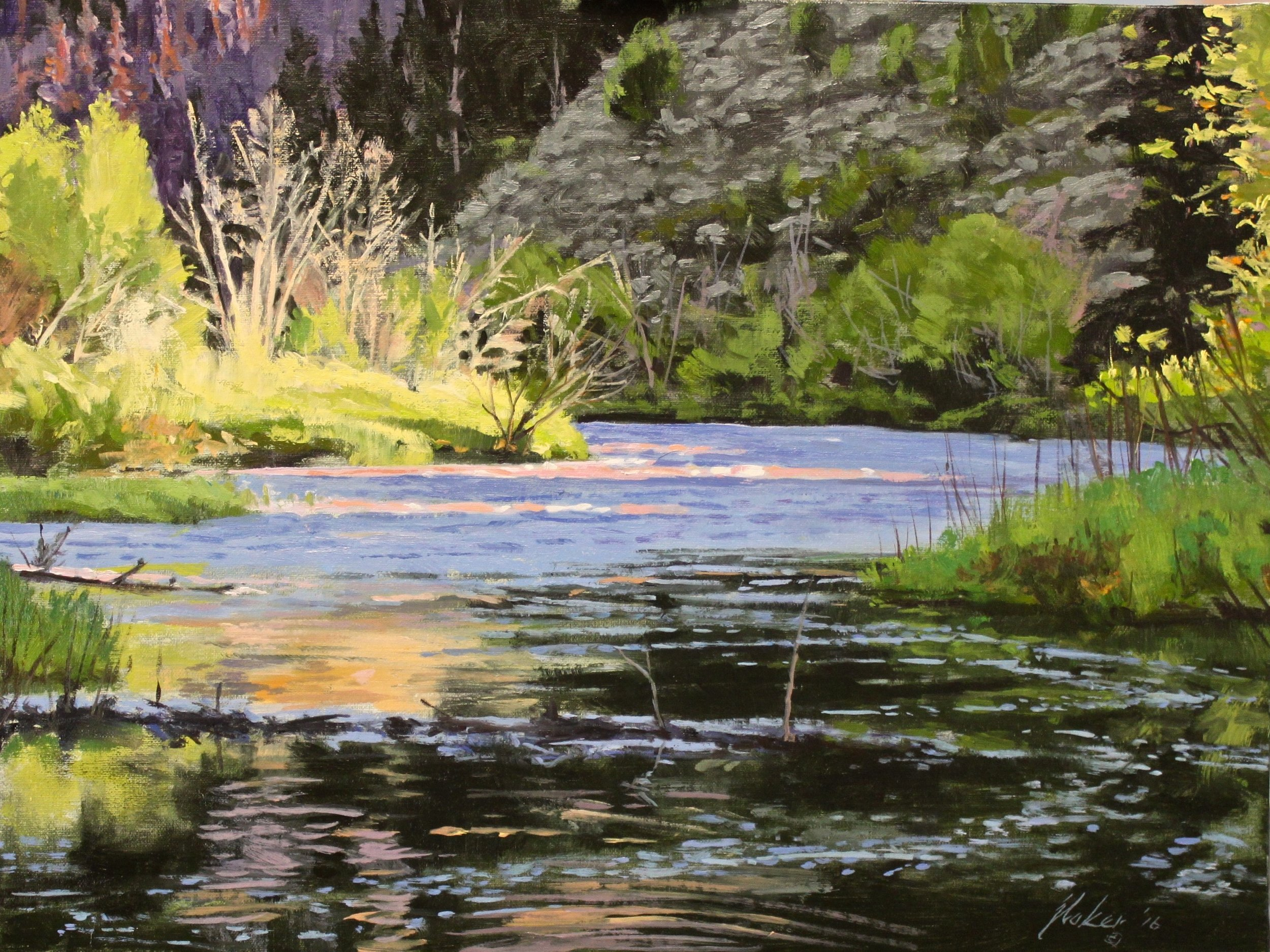 """""""Six Mile Gap-High Water"""" 12 X16 """" Oil Painting by John D. Baker"""
