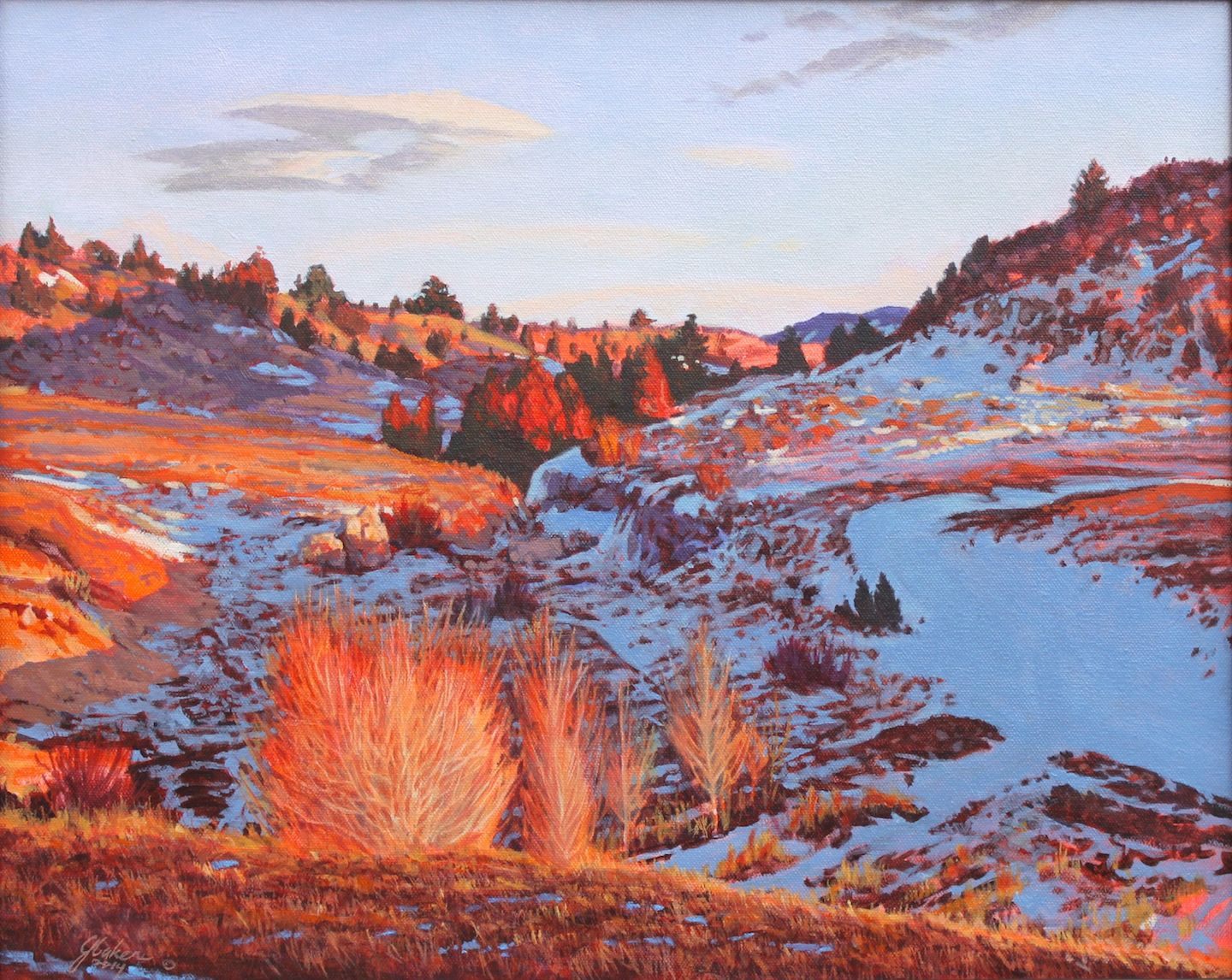 """""""Canyon Fire-Canyon Ice"""", 18 X 24"""" Oil Painting by John D. Baker, 2014"""