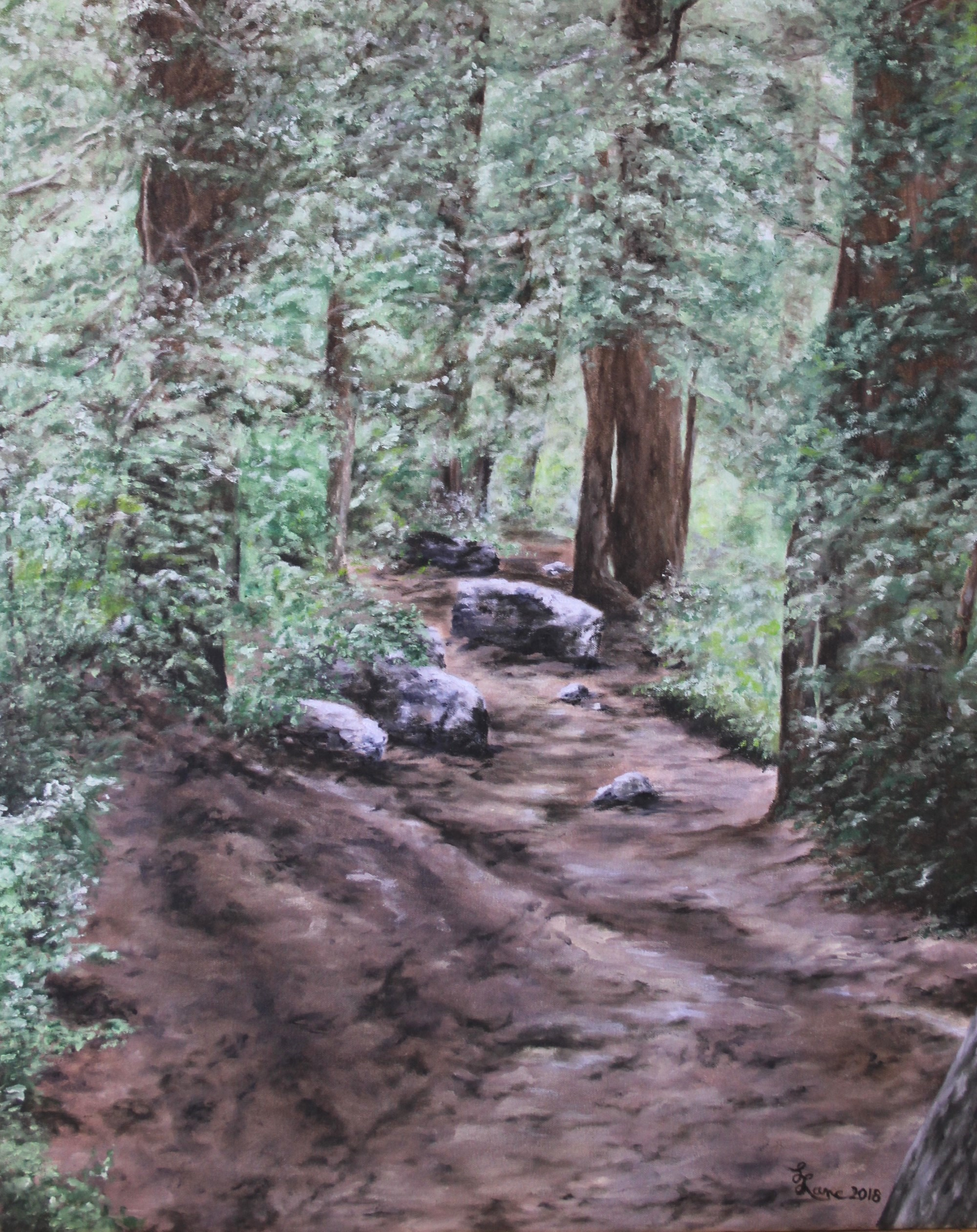 """Hidden Falls Trail,"" 2018, 24x30 in., oil on canvas by Lee Lane"