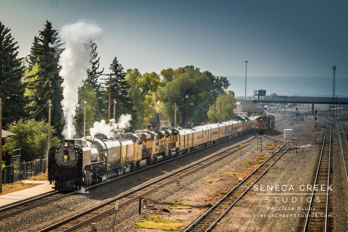 """Union Pacific Historic Train Locomotive Engine #844 at the Historic Train Depot in Downtown Laramie, Wyoming,"" 16x24, Fine Art Photograph on Metal by Allison Pluda / Seneca Creek Studios"