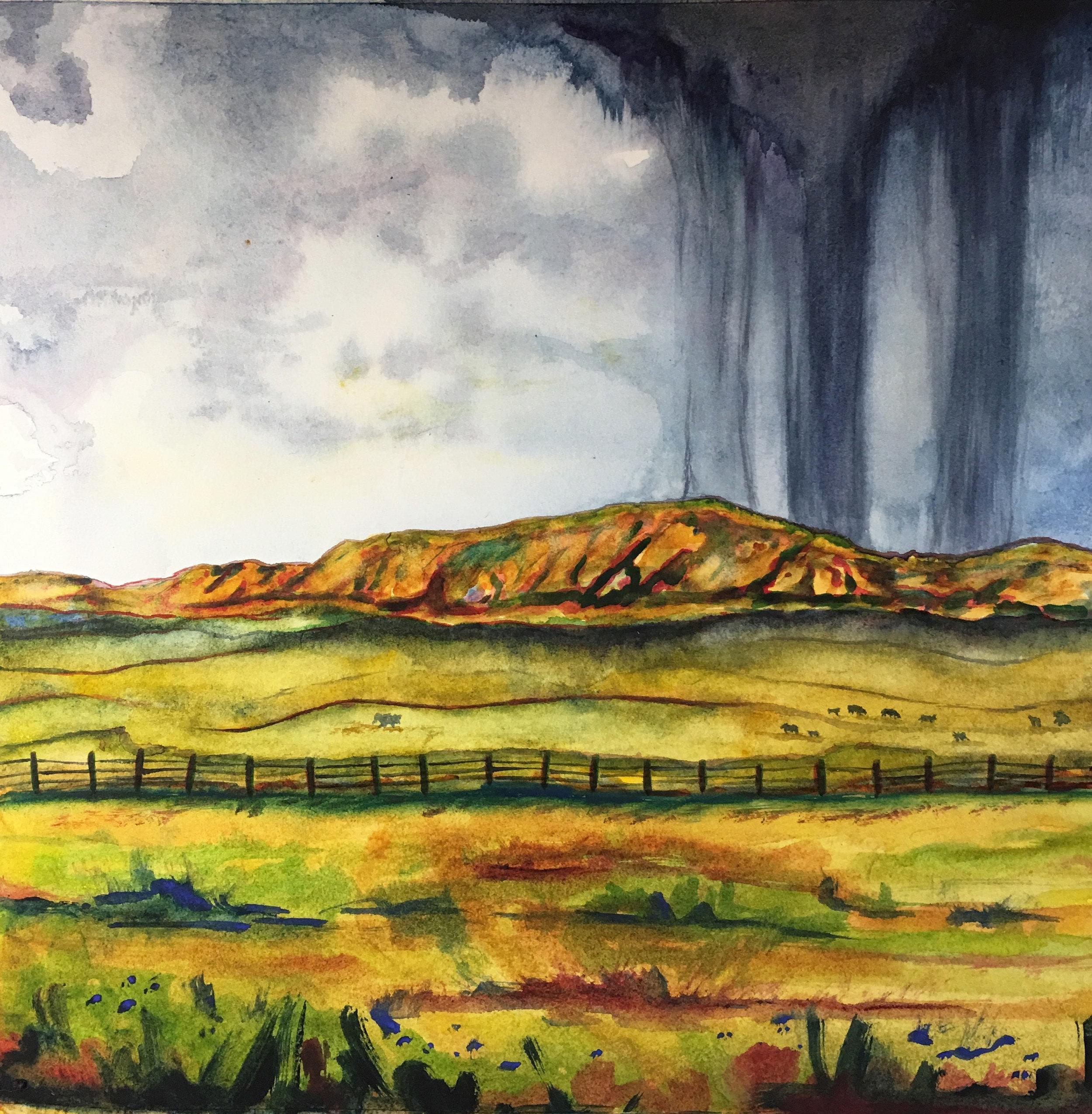 """Wyoming Storm"", watercolor, 10"" x 10"", 2018 by Nancy Marlatt"