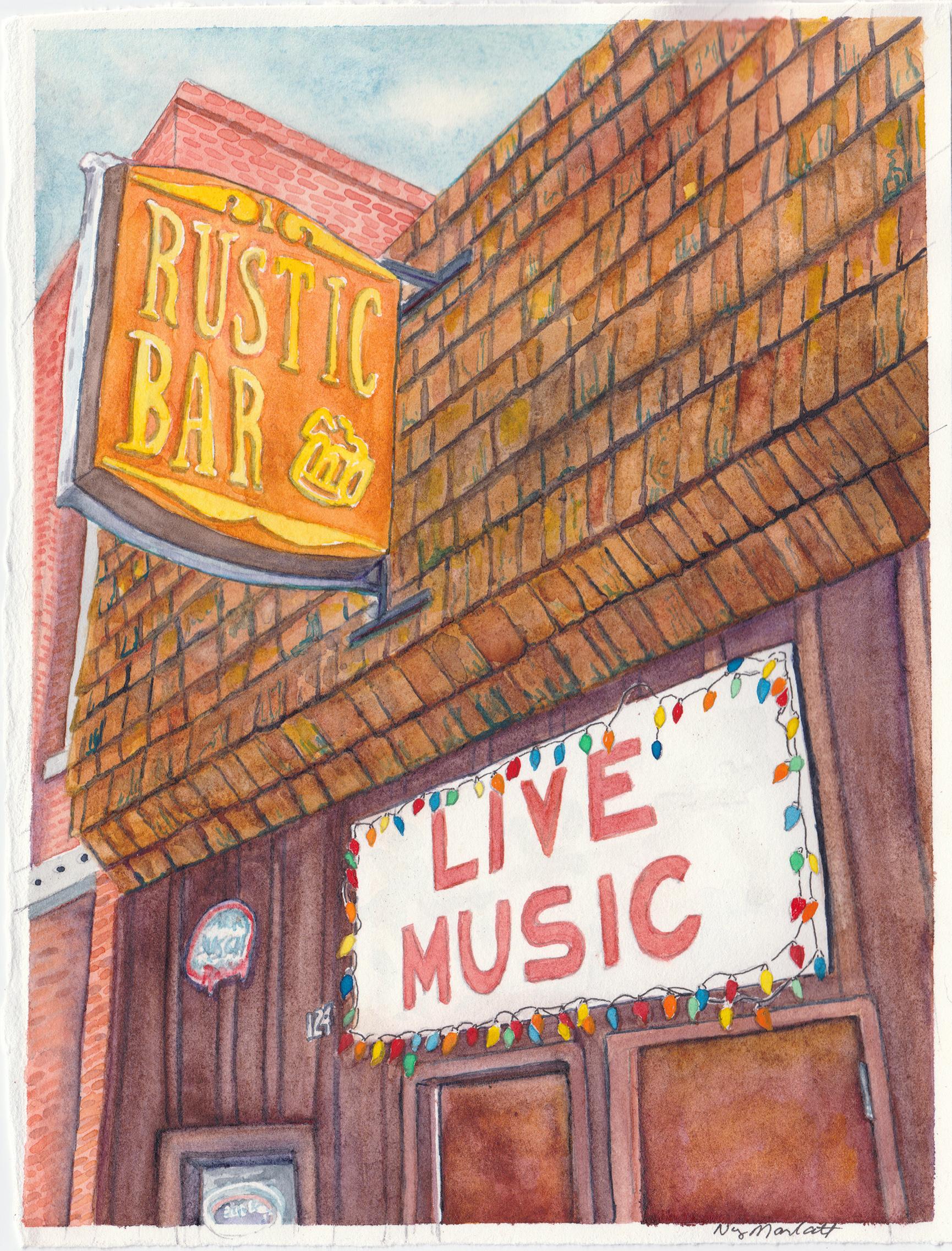"""The Rustic Bar"", watercolor, 5"" x 7"", 2018 by Nancy Marlatt"