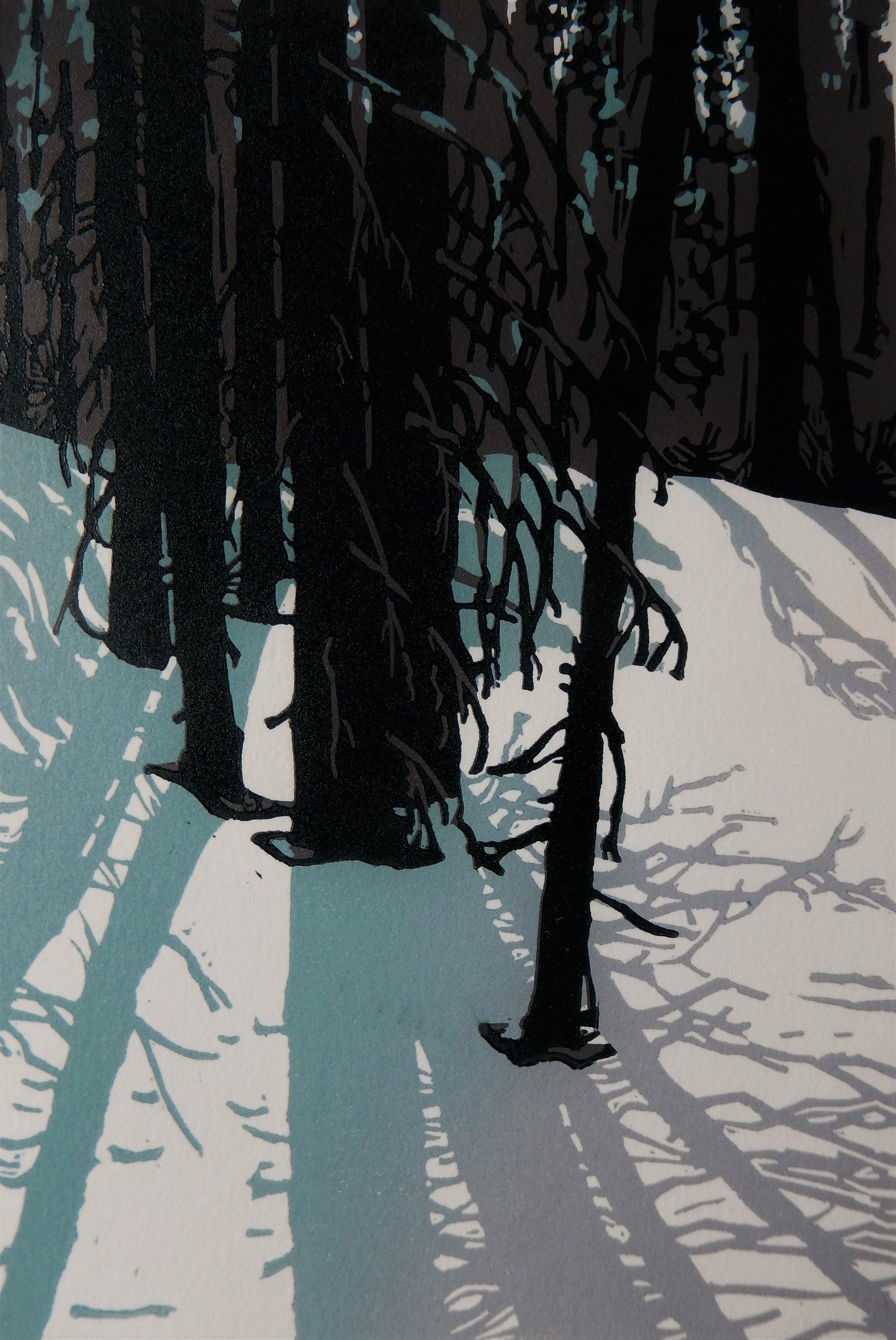 """""""Light Stream"""" 9x6"""" relief print, 2017, by Ginnie Madsen"""