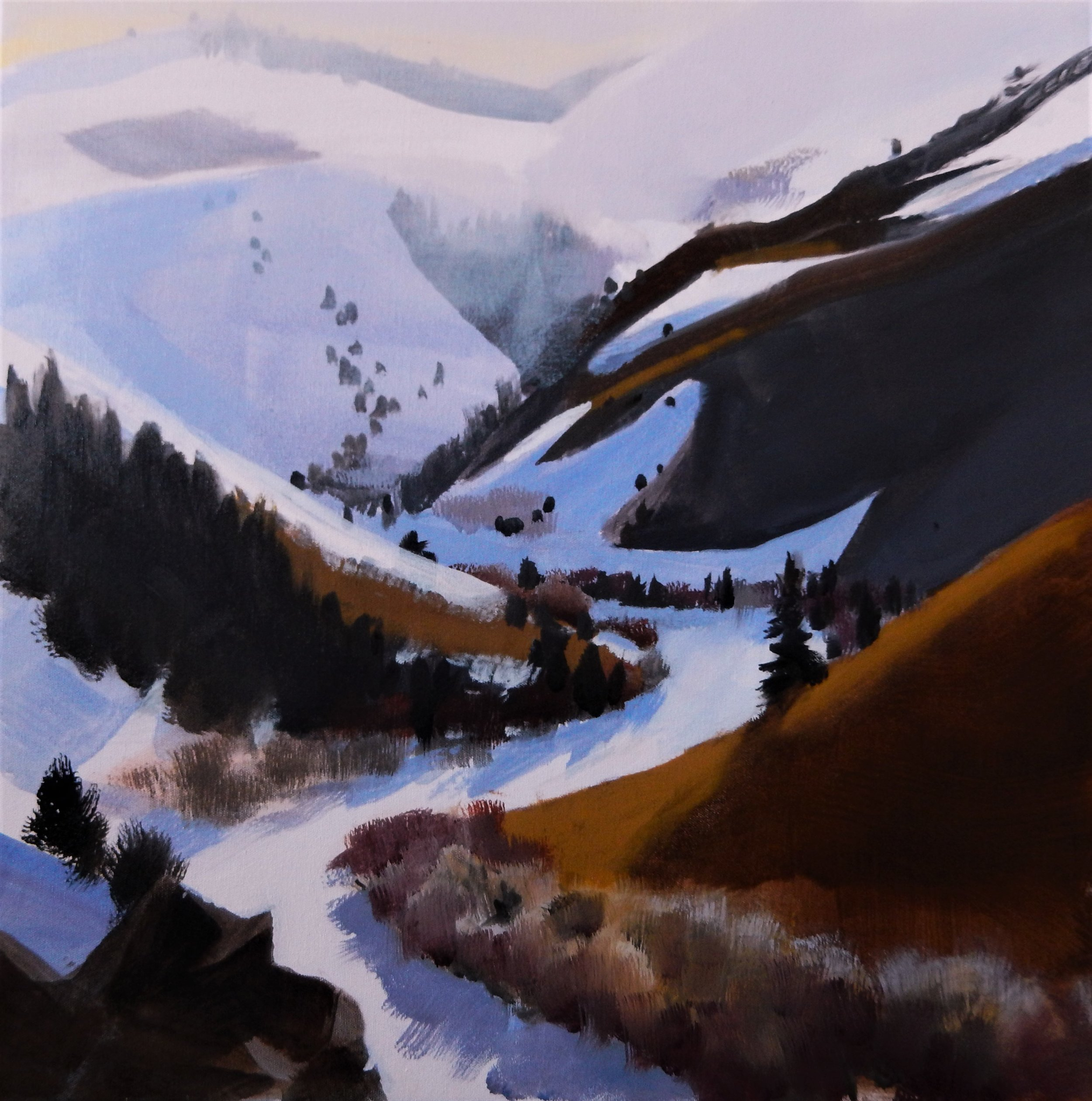 """Still Winter"" 24x24"" Oil Painting, 2017 by Jon Madsen"