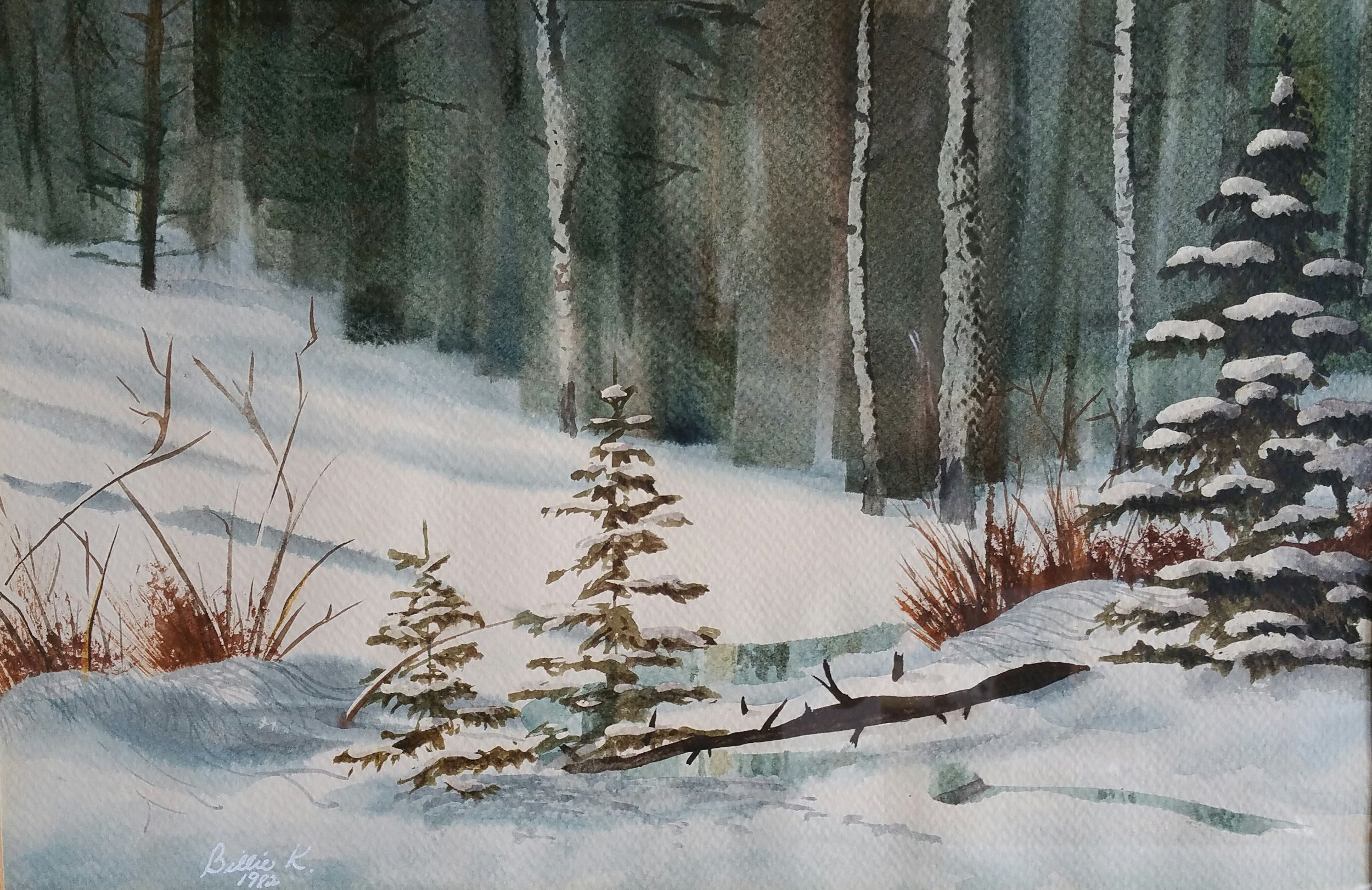 """Winter Dreams"" 11x17 watercolor by Billie Kay Gross"