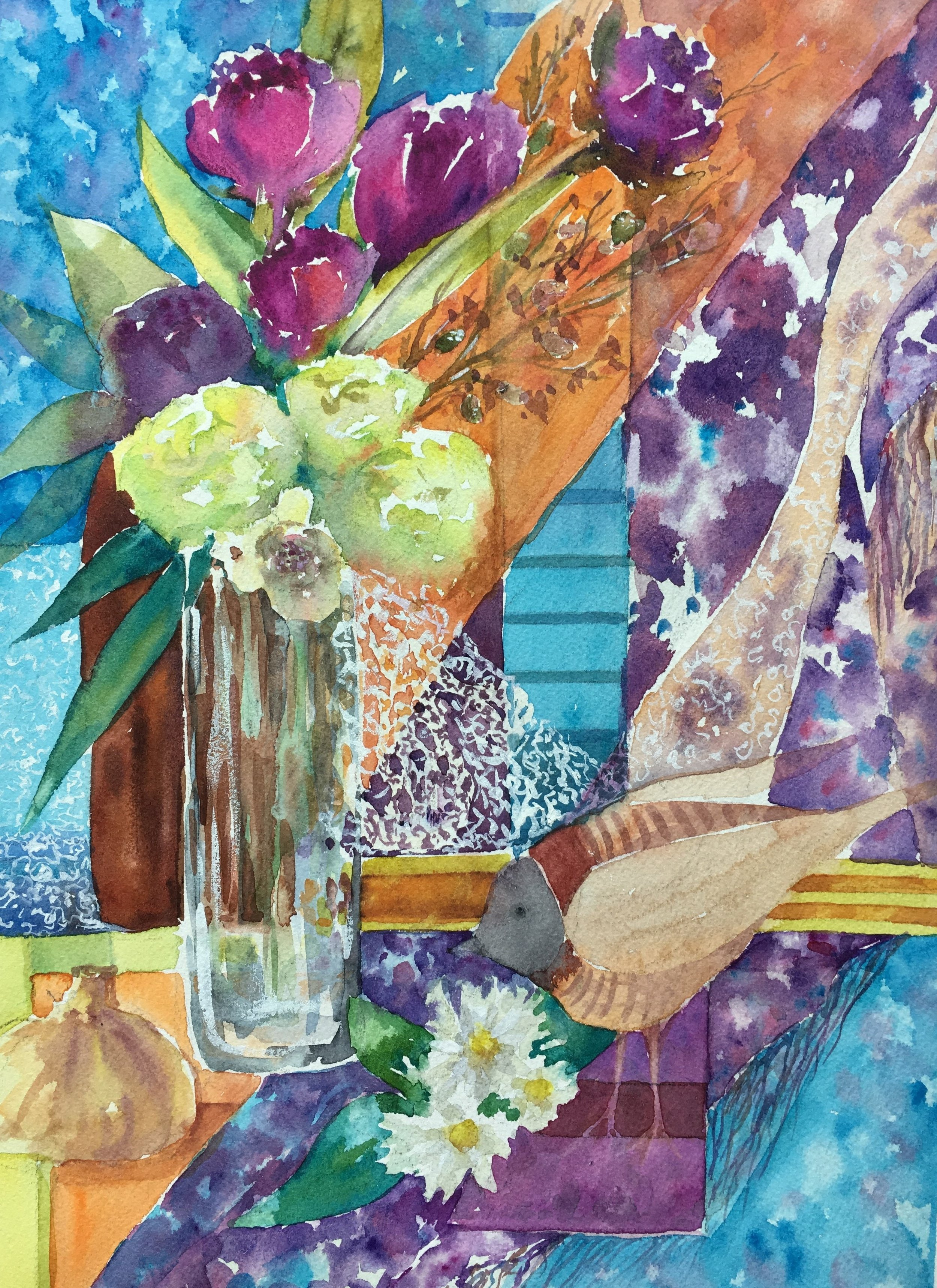 """""""Bird and curtains""""16x20. Watercolor on watercolor paper by Svetlana Howe"""