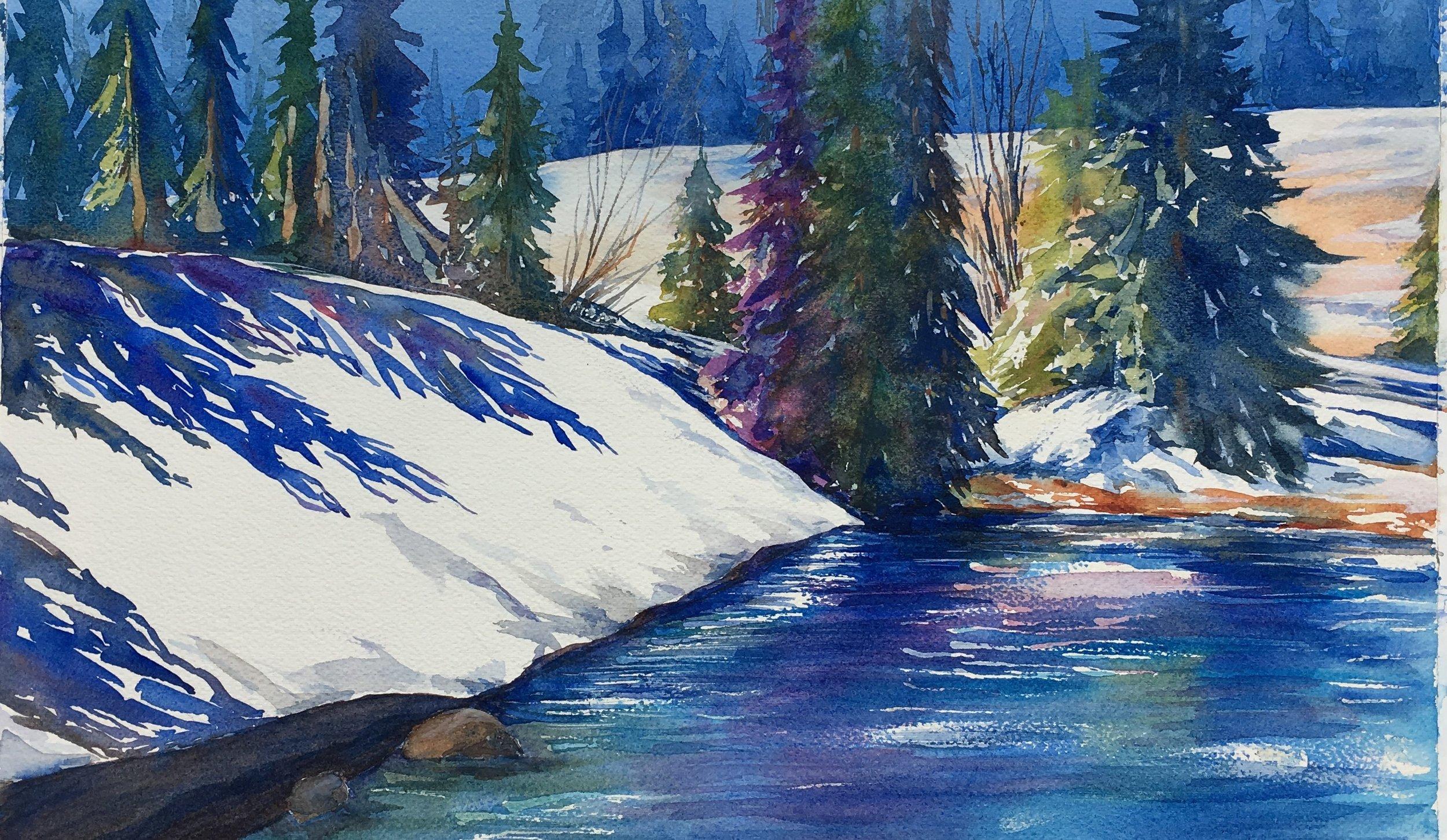 """""""Spring shadow"""" 16x24, Watercolor on watercolor paper by Svetlana Howe"""